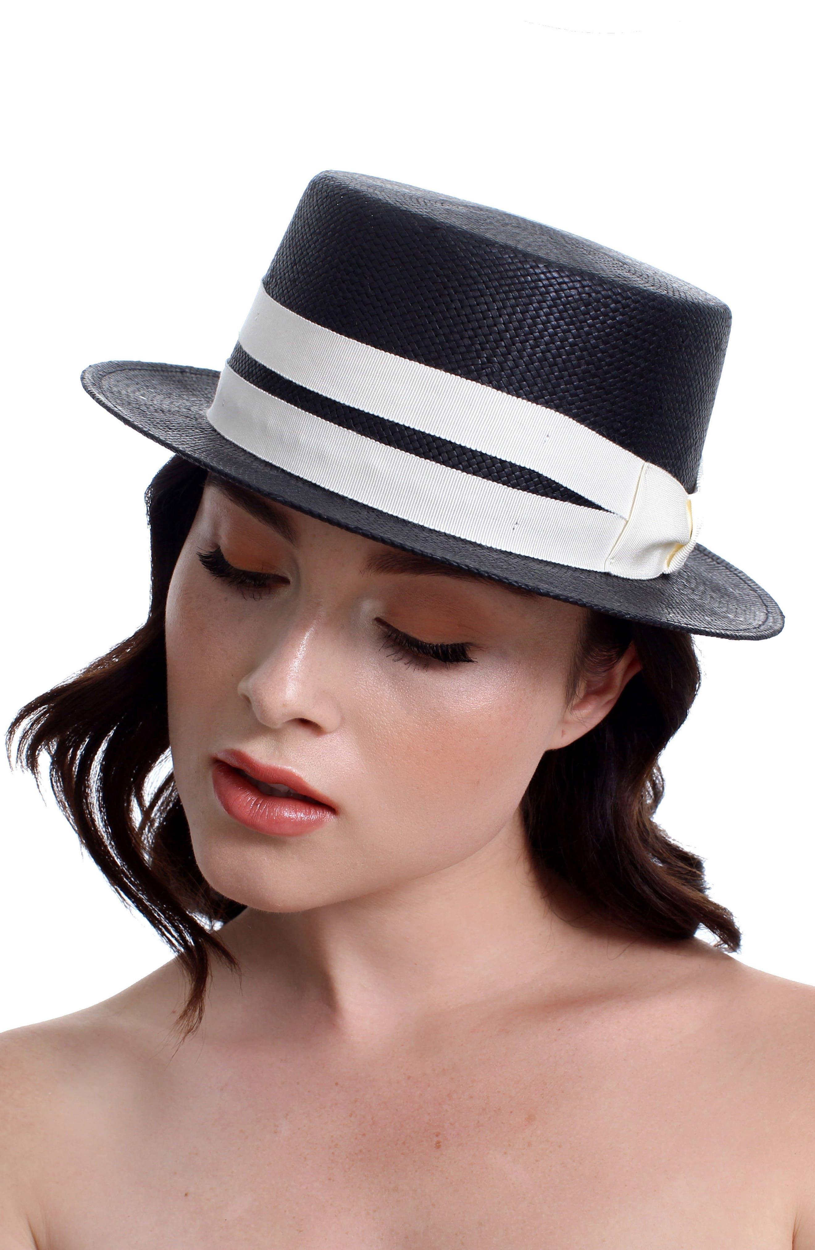 The Gemini Boater Hat,                             Alternate thumbnail 2, color,                             BLACK