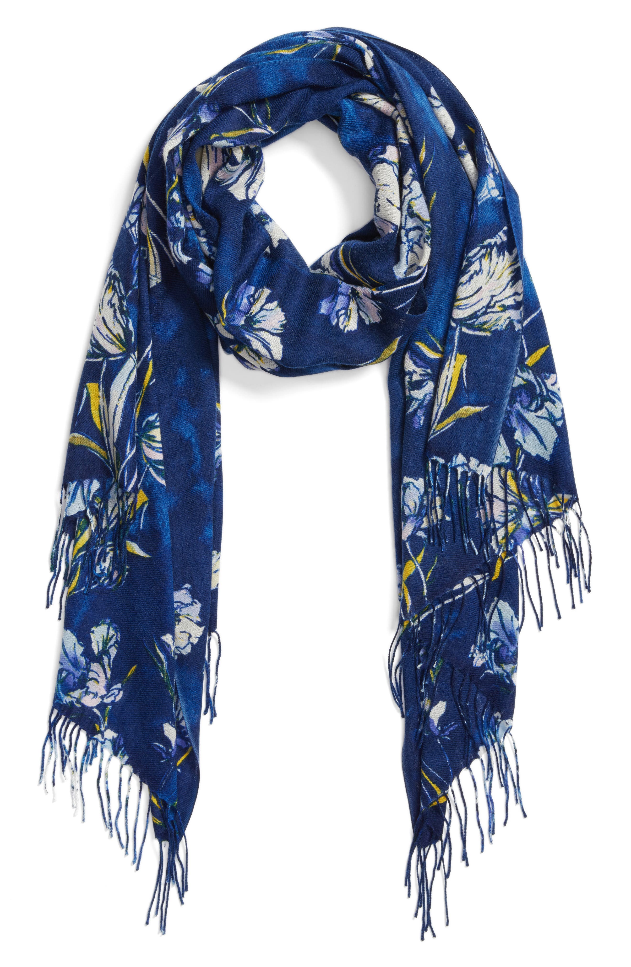 Cambridge Print Wool & Cashmere Scarf,                             Alternate thumbnail 4, color,