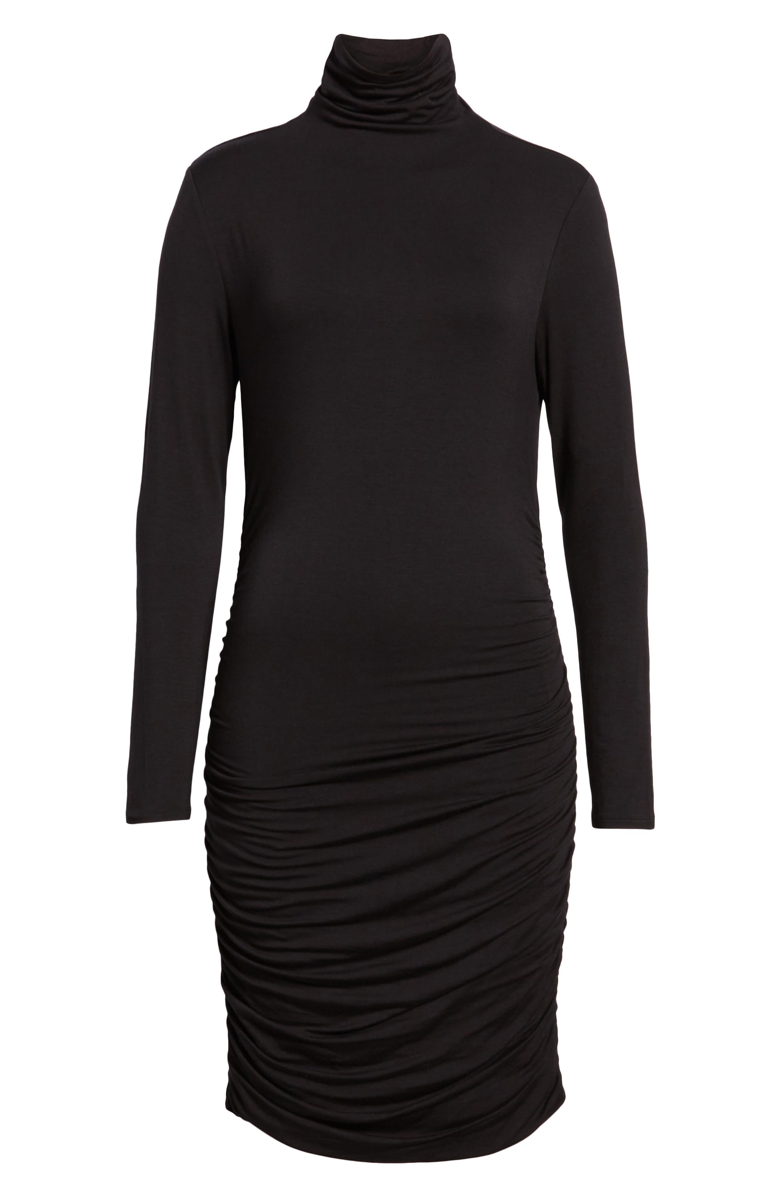 Halogen Side Ruched Turtleneck Dress, Black