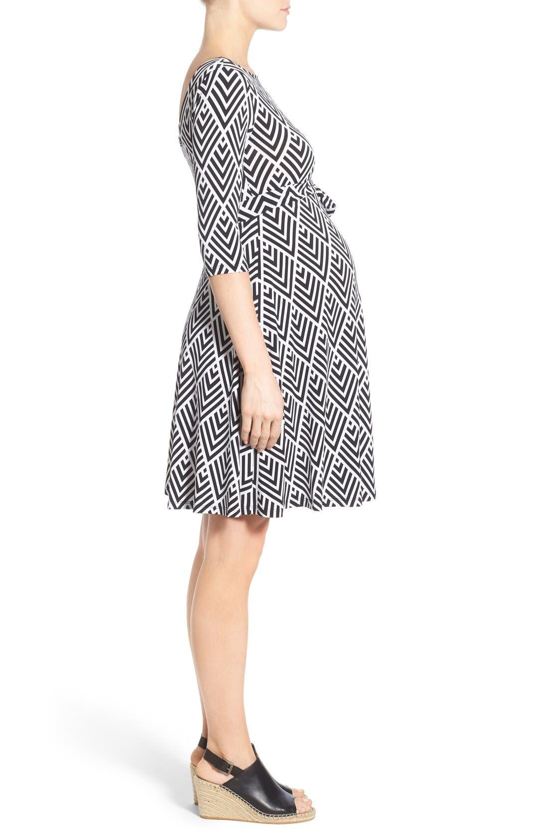 'Ilana' Belted Maternity Dress,                             Alternate thumbnail 2, color,                             001
