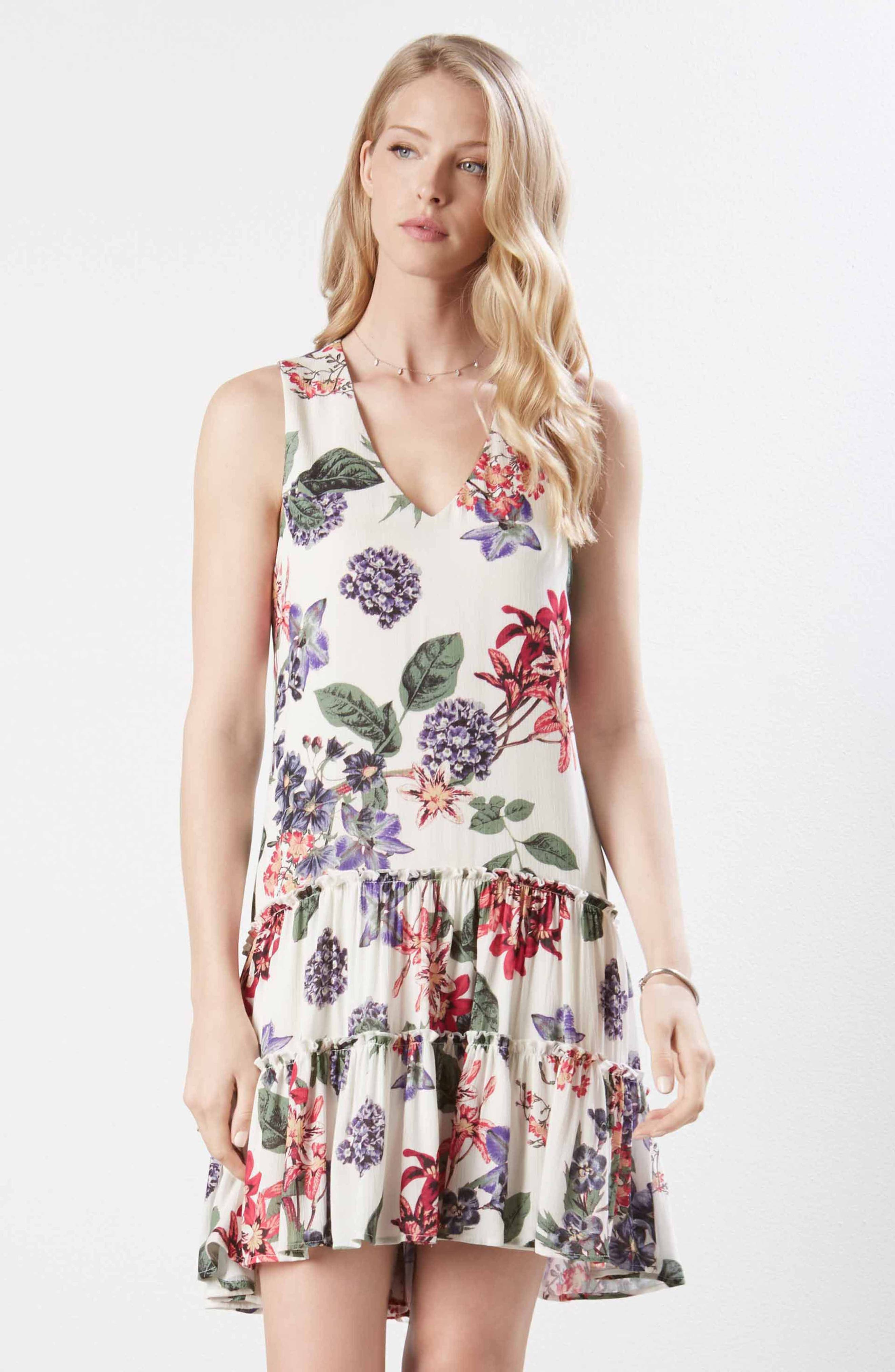 Ruffle Hem Floral Gauze Dress,                             Alternate thumbnail 3, color,                             PRINT