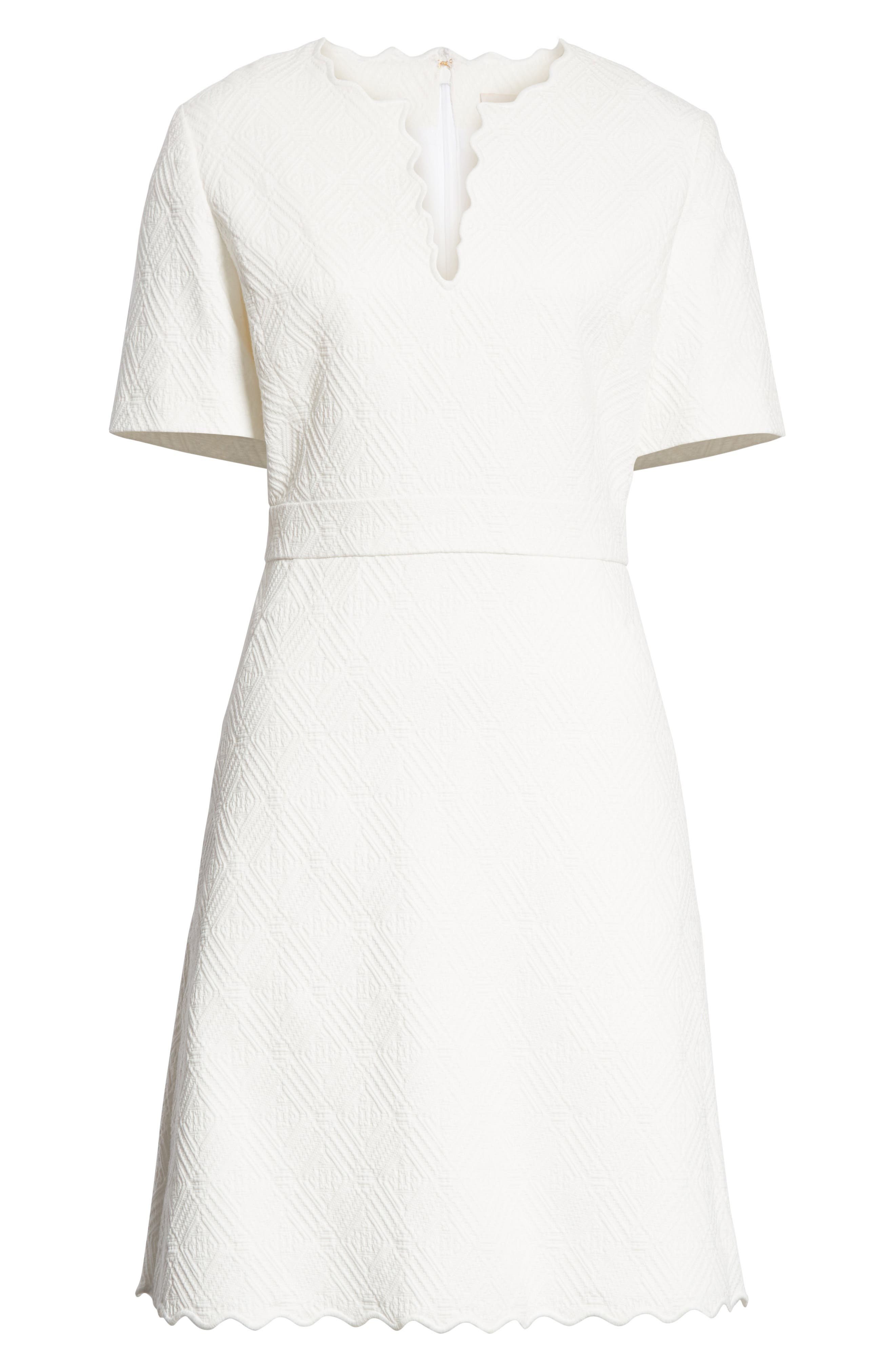 Bailey Scallop Cotton Dress,                             Alternate thumbnail 6, color,                             100