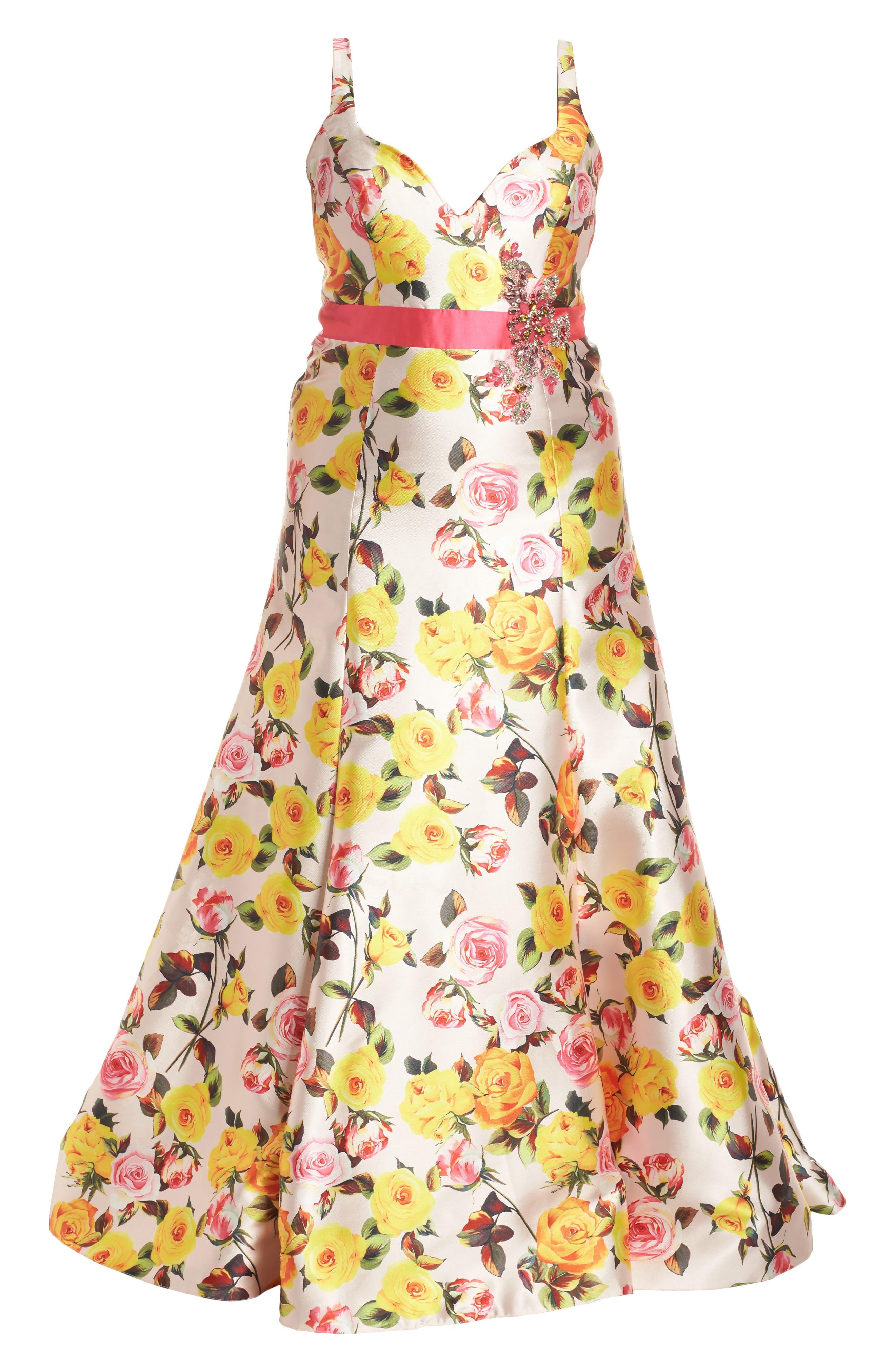 Floral Trumpet Gown,                             Alternate thumbnail 6, color,                             BLUSH FLORAL