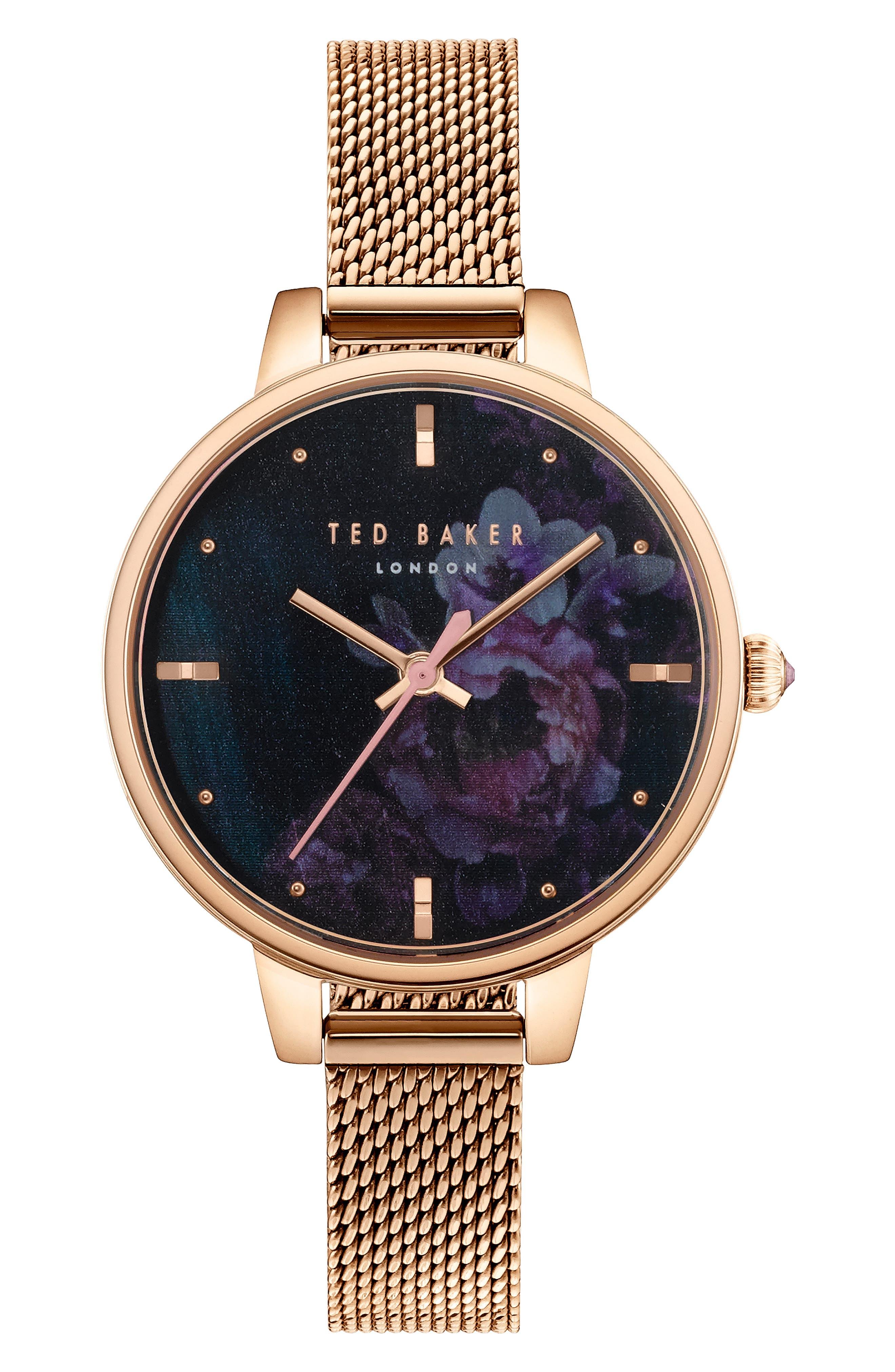 Kate Mesh Strap Watch, 32mm,                             Main thumbnail 1, color,                             ROSE GOLD/ MOP/ ROSE GOLD