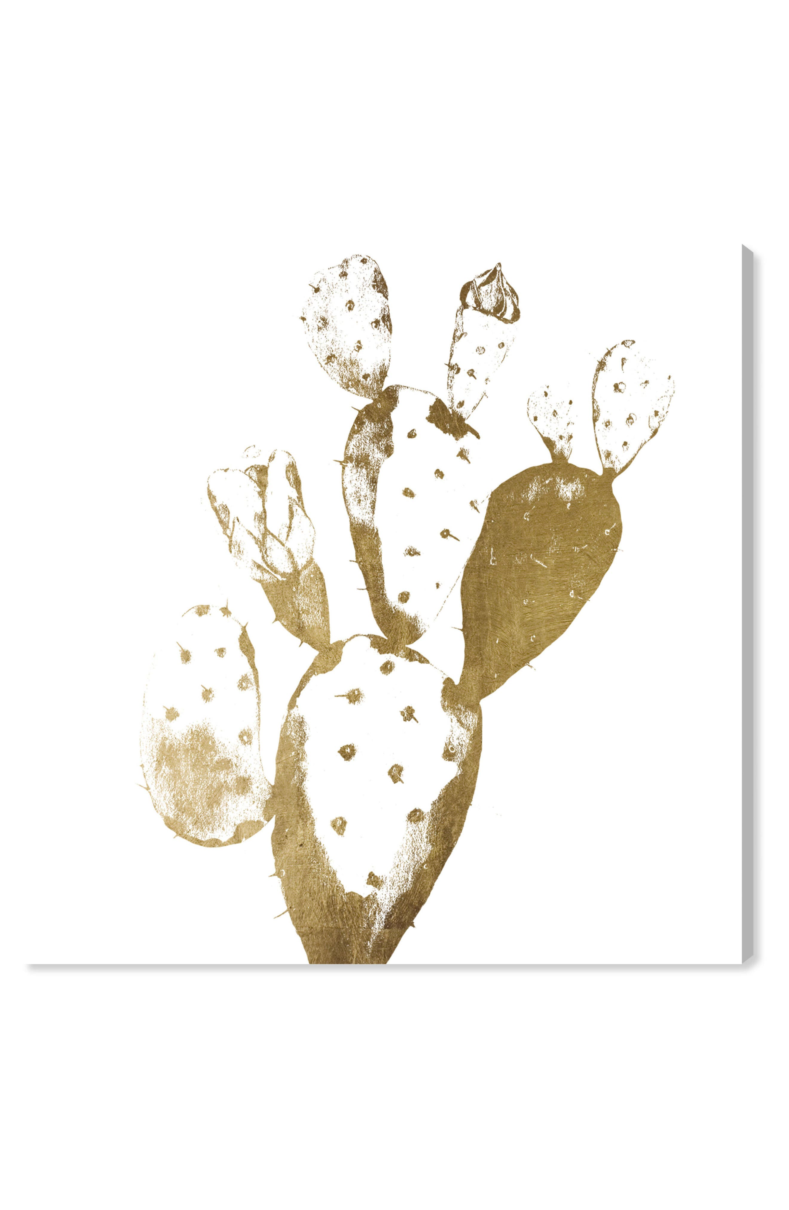 OLIVER GAL Cactus Gold II Canvas Wall Art, Main, color, METALLIC GOLD