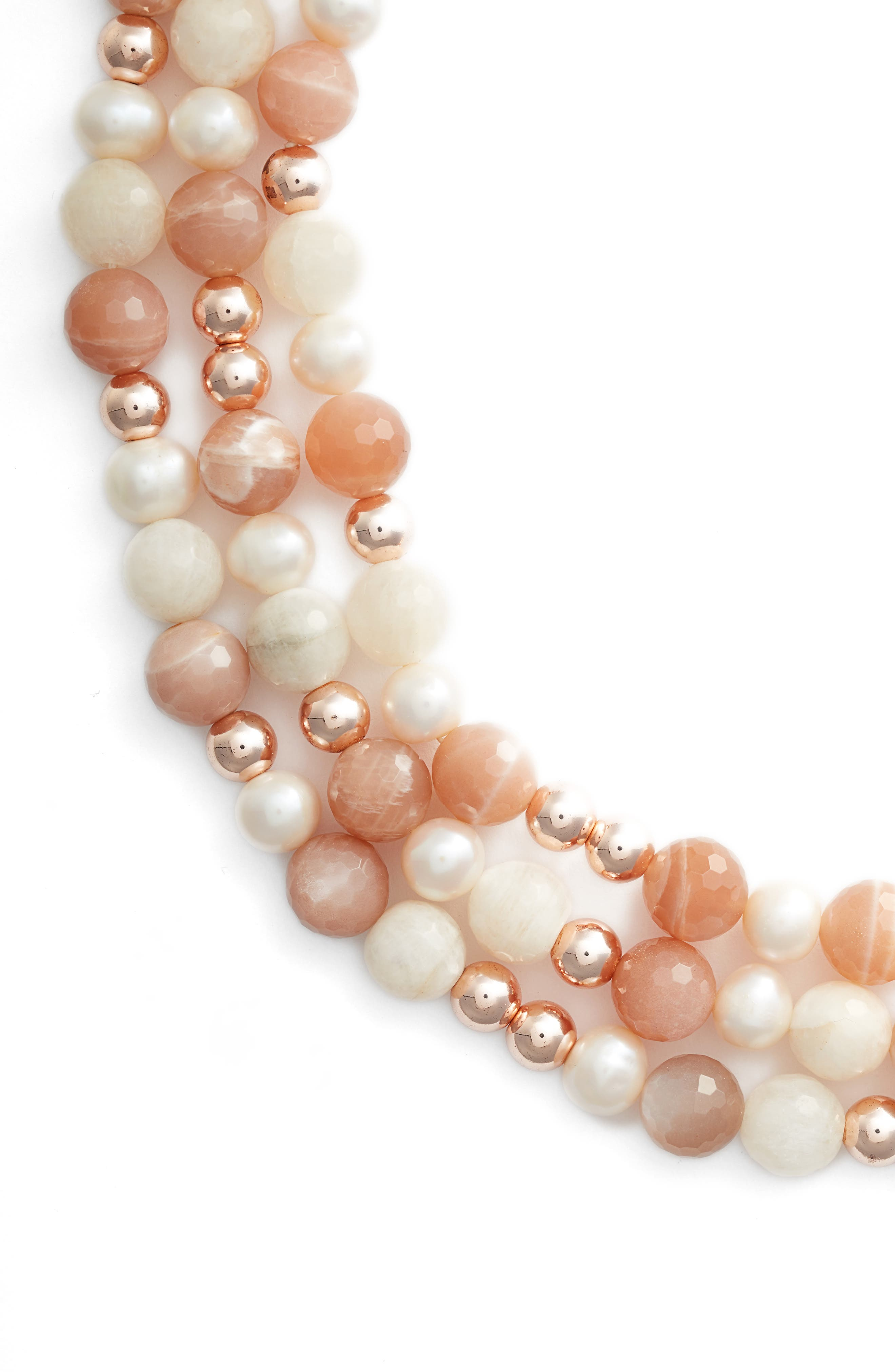 Pearl & Stone Necklace,                         Main,                         color, PINK/ WHITE/ SILVER