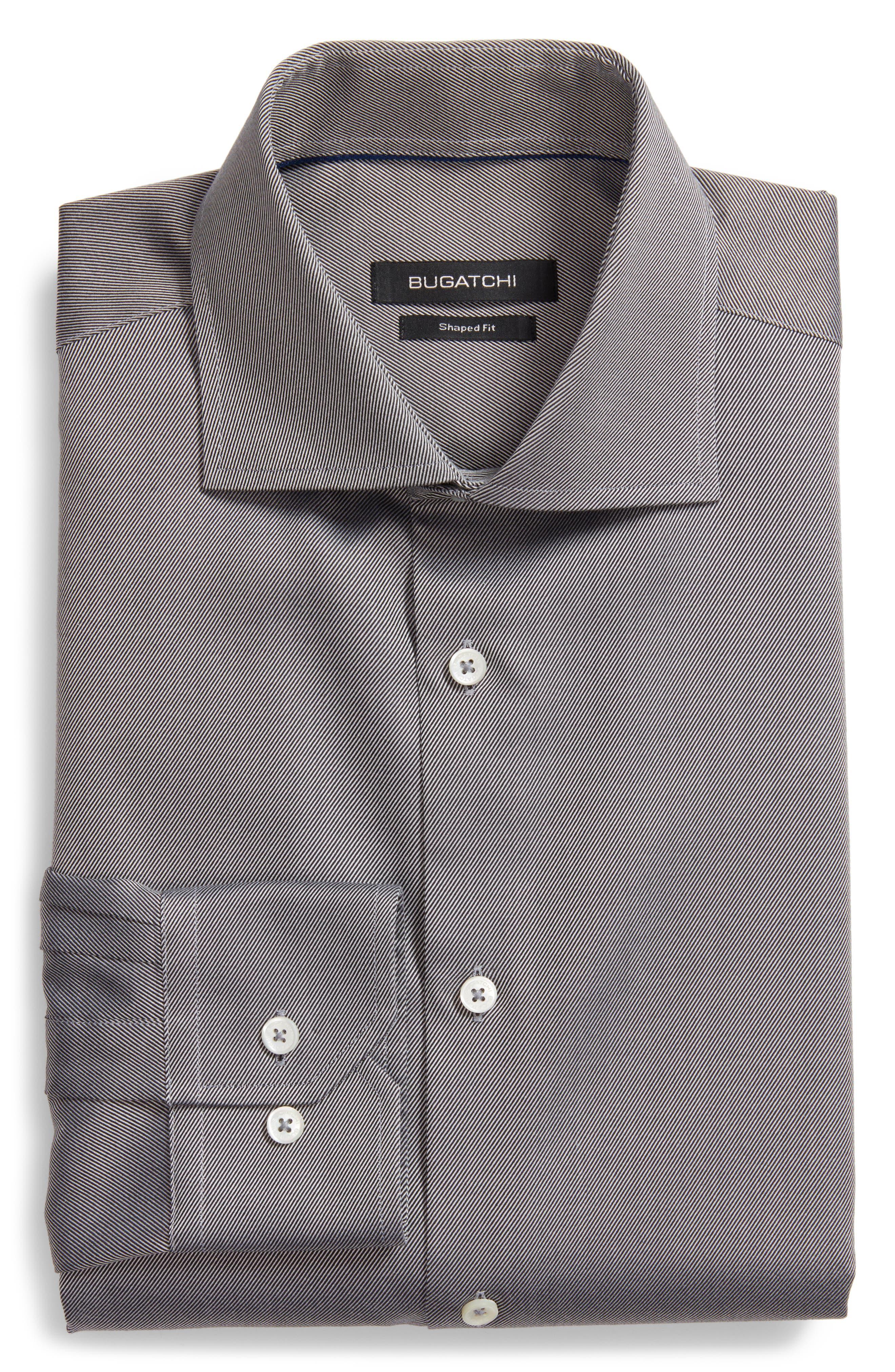 Shaped Fit Solid Dress Shirt,                             Main thumbnail 1, color,                             001