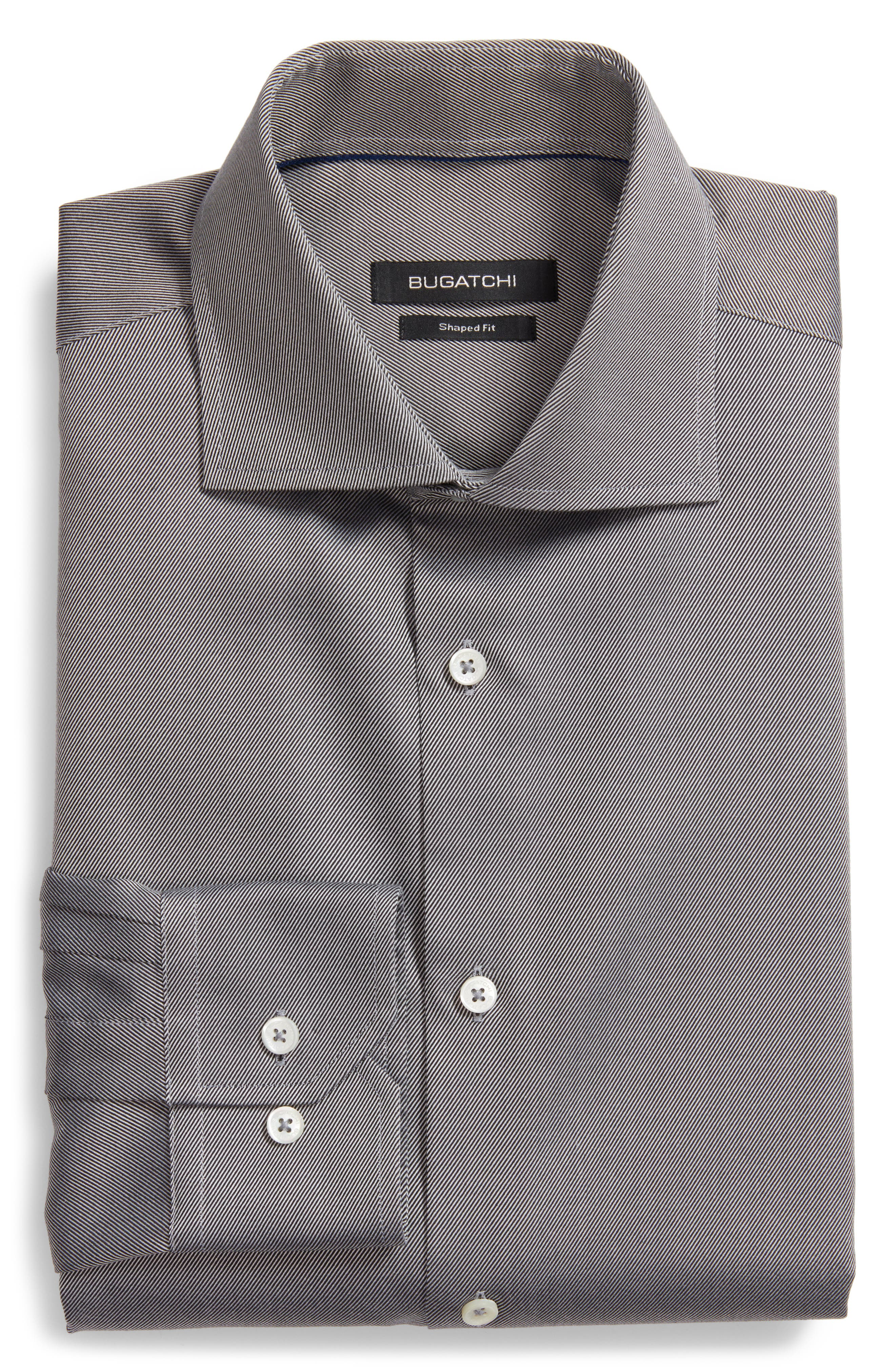 Shaped Fit Solid Dress Shirt,                         Main,                         color, 001
