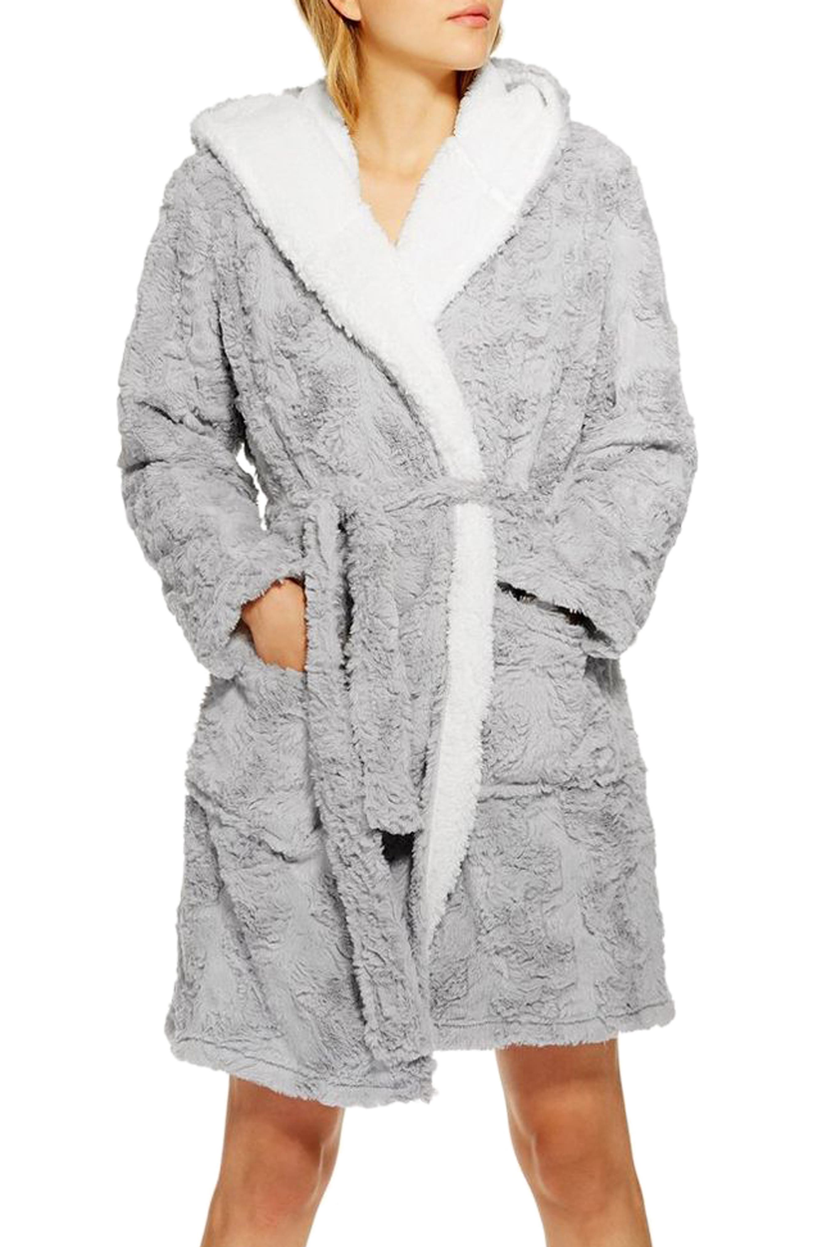 TOPSHOP,                             Squiggle Faux Fur Fluffy Robe,                             Main thumbnail 1, color,                             020