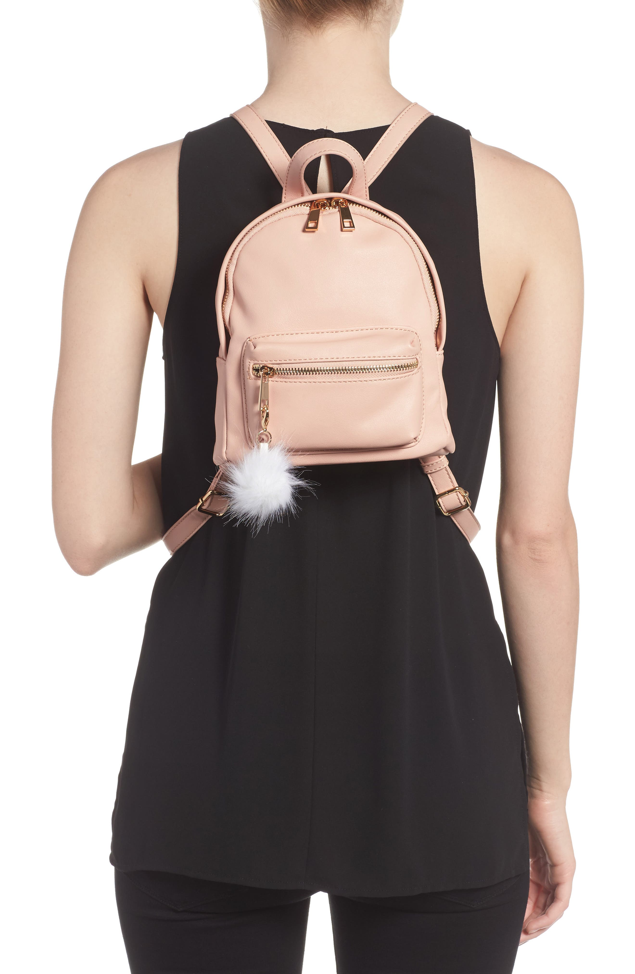 Faux Leather Mini Backpack,                             Alternate thumbnail 16, color,