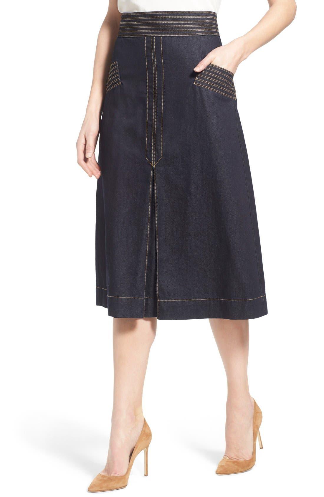 Retro Denim Skirt,                             Alternate thumbnail 2, color,                             410