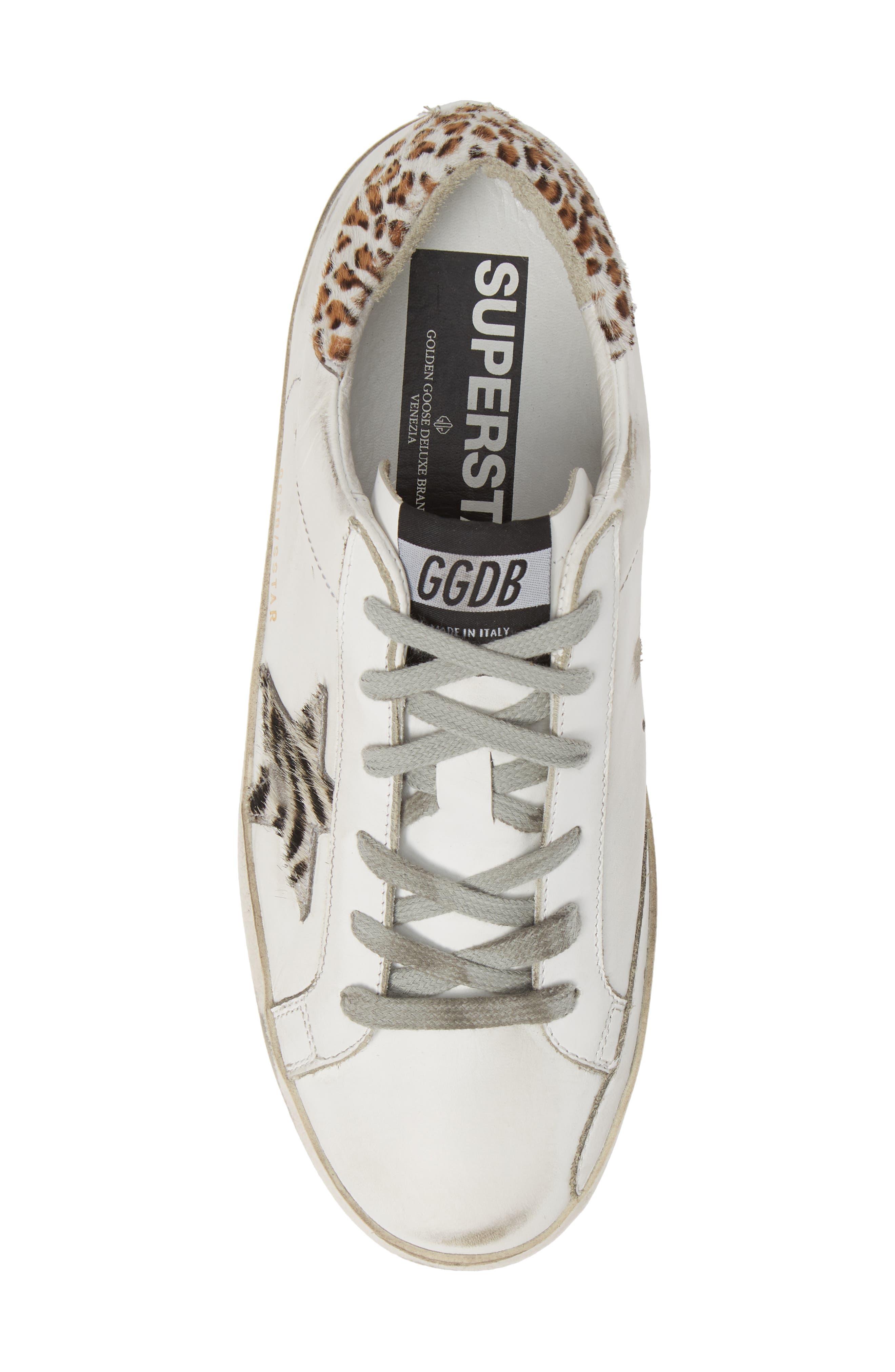 Superstar Genuine Calf Hair Sneaker,                             Alternate thumbnail 5, color,                             WHITE/ ZEBRA