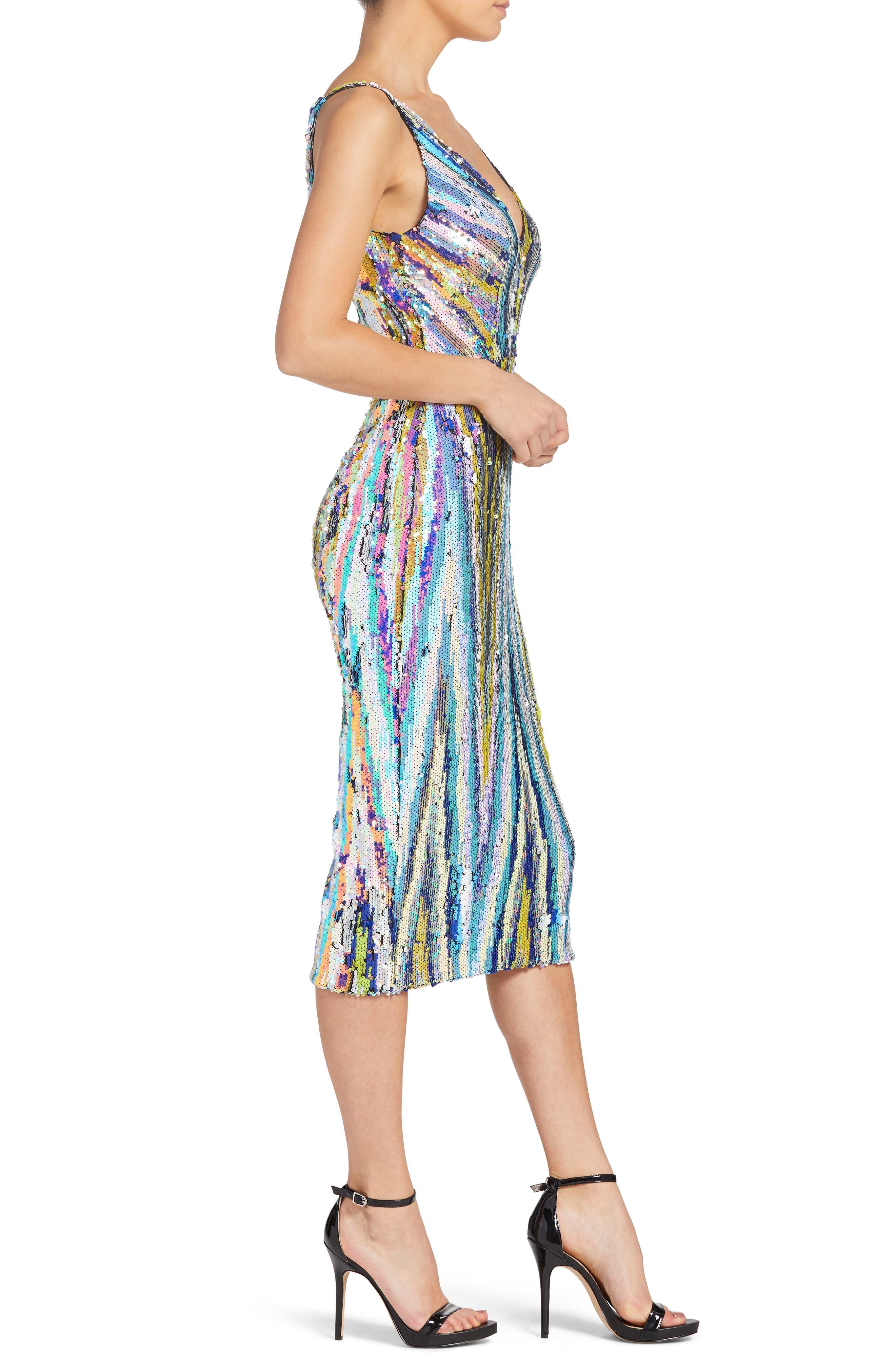 Margo Plunge Neck Sequin Dress,                             Alternate thumbnail 3, color,                             OPAL MULTI