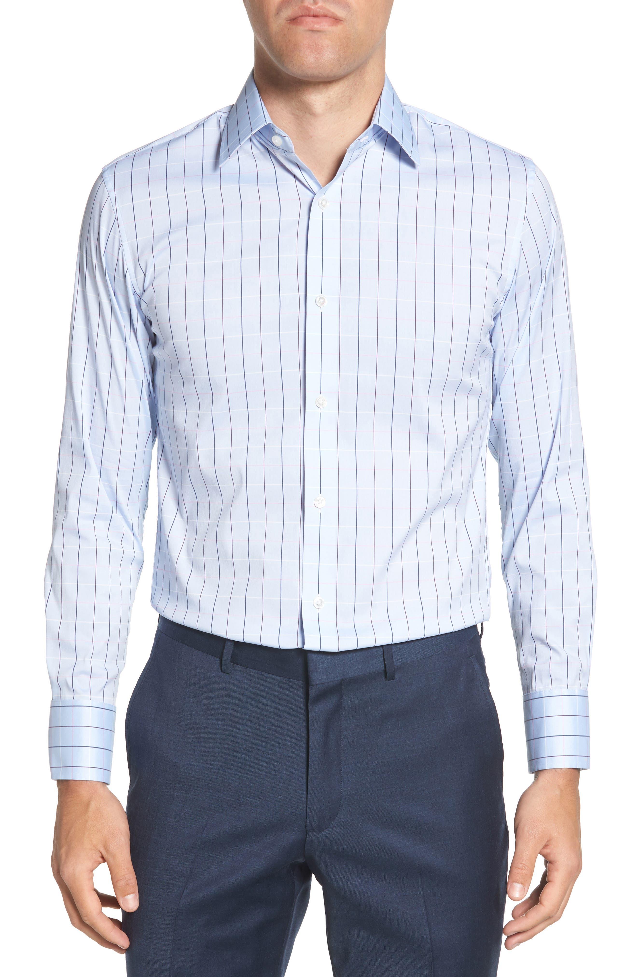 Jetsetter Slim Fit Stretch Check Dress Shirt,                         Main,                         color, 400