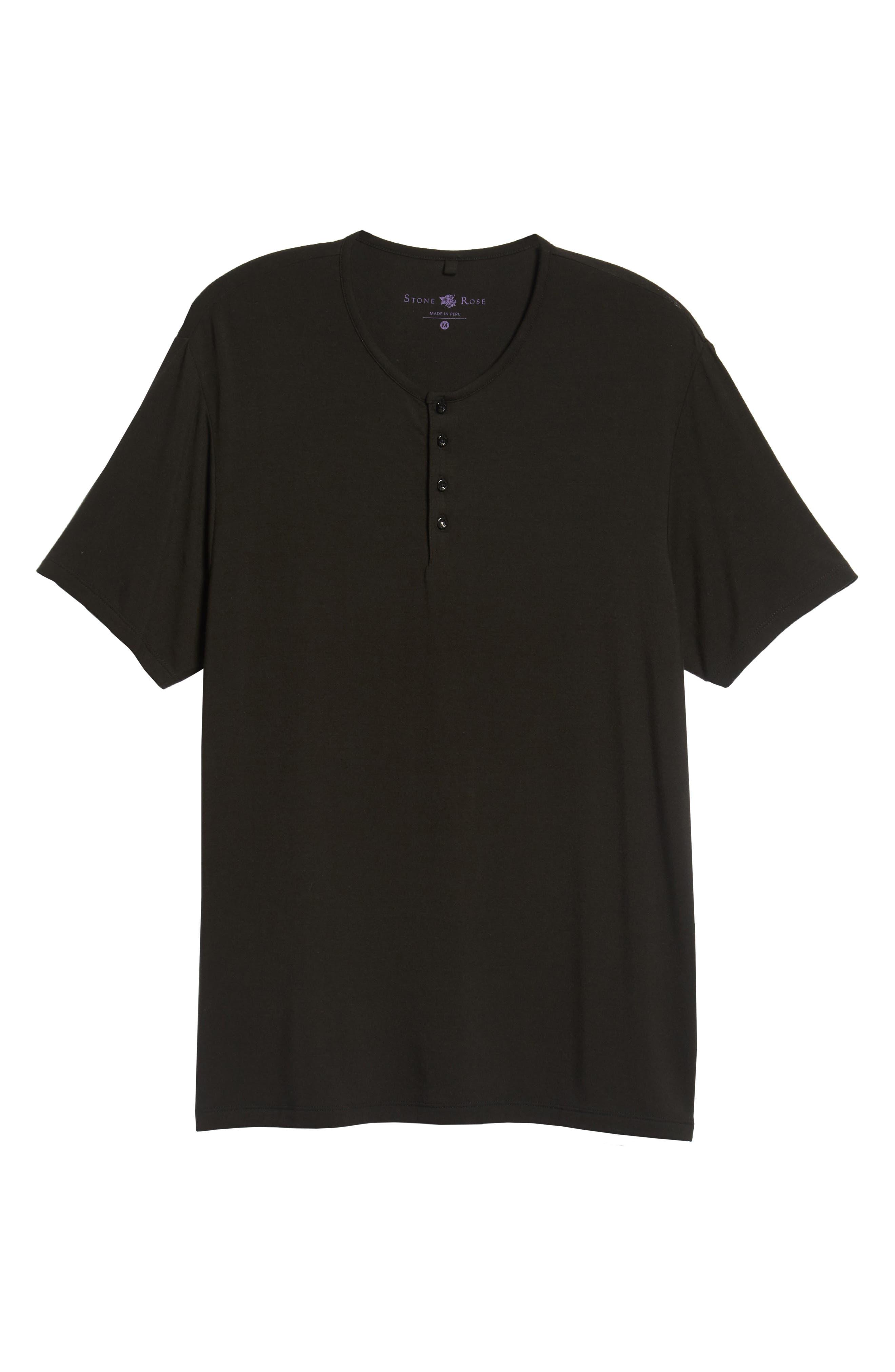 Short Sleeve Stretch Modal Henley,                             Alternate thumbnail 6, color,                             BLACK