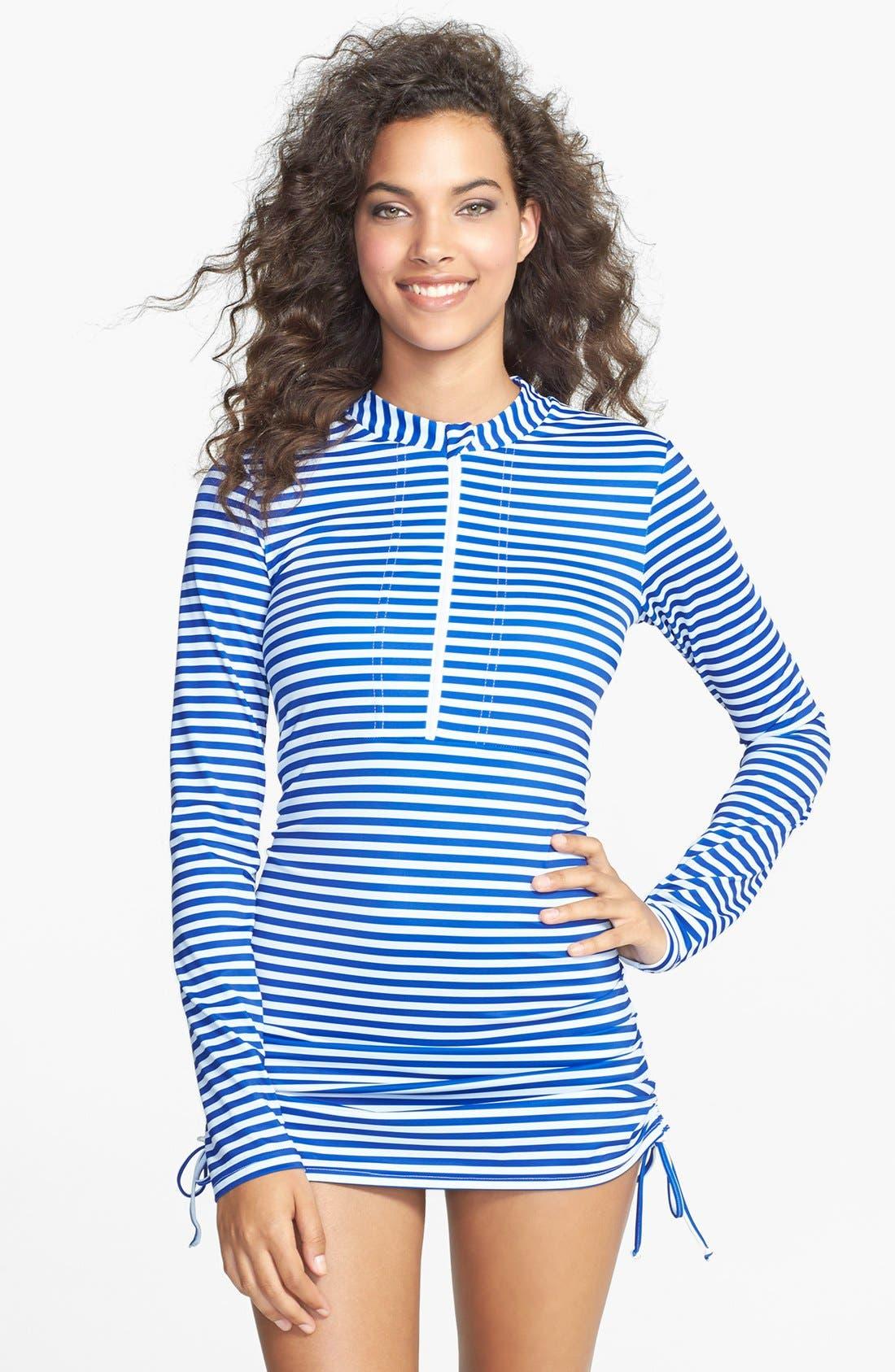 'Sonja' Long Sleeve Half Zip Convertible Swimdress,                             Main thumbnail 4, color,