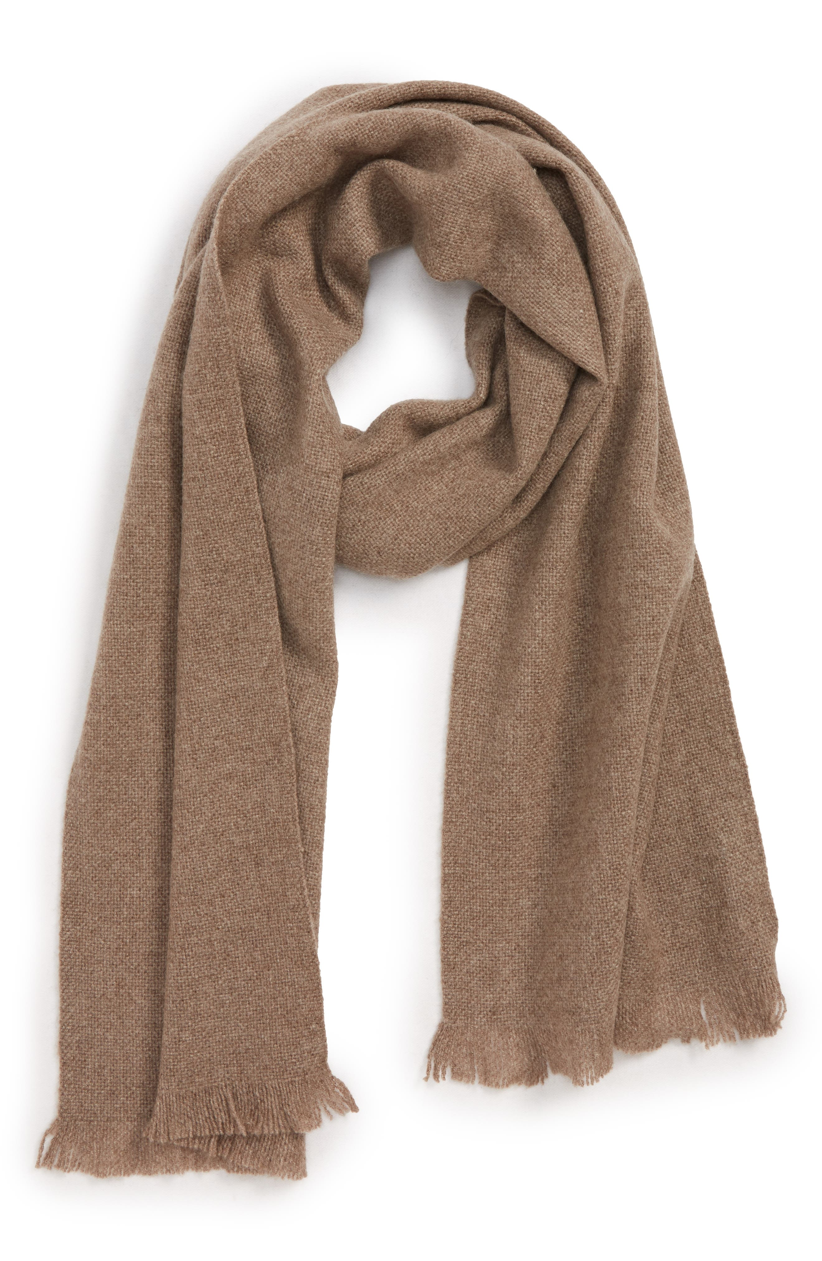 Solid Cashmere Scarf,                             Main thumbnail 1, color,                             BROWN WALNUT