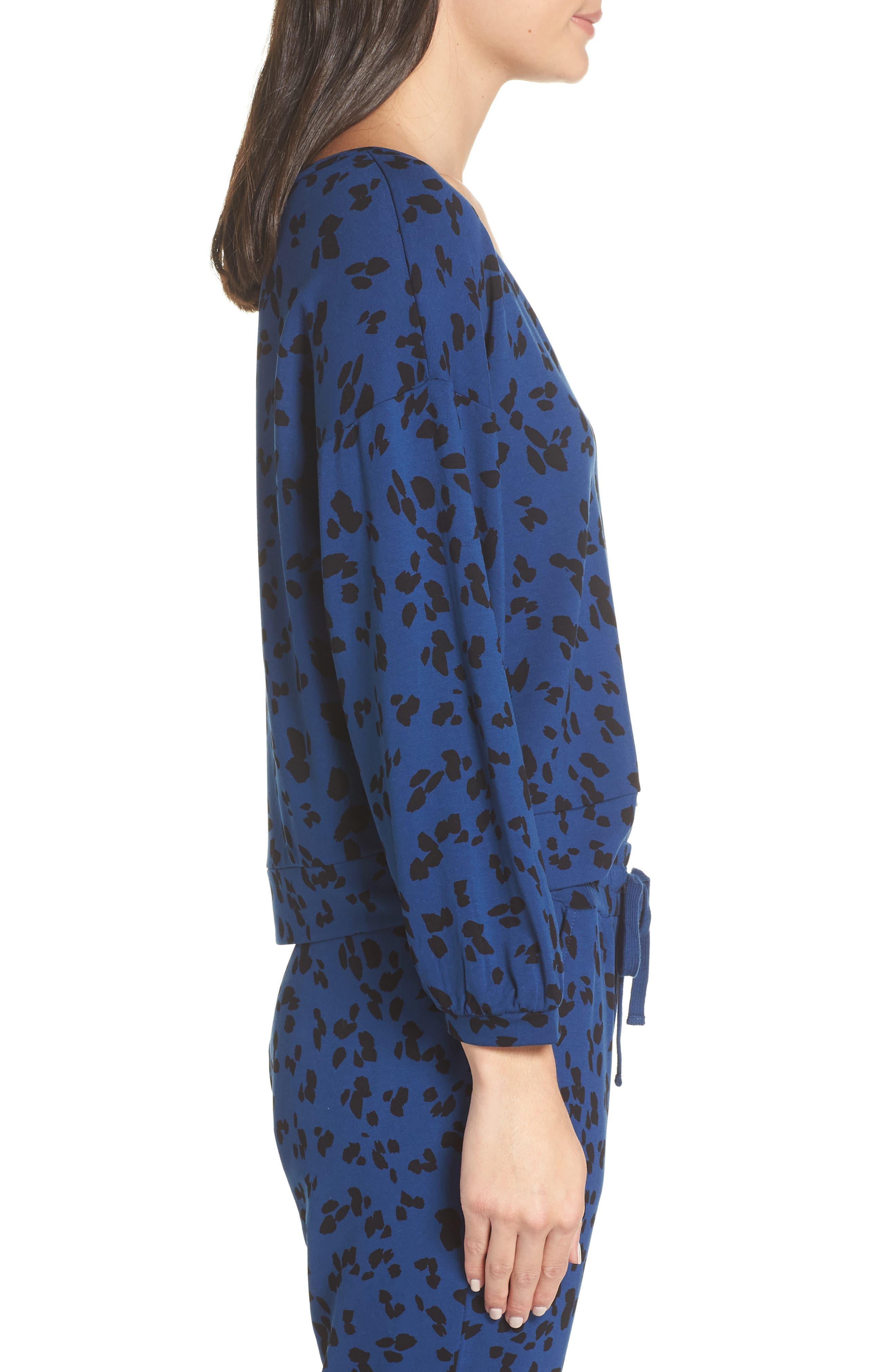 Sensing a Pattern Leopard Print Pajama Top,                             Alternate thumbnail 3, color,                             MARINE