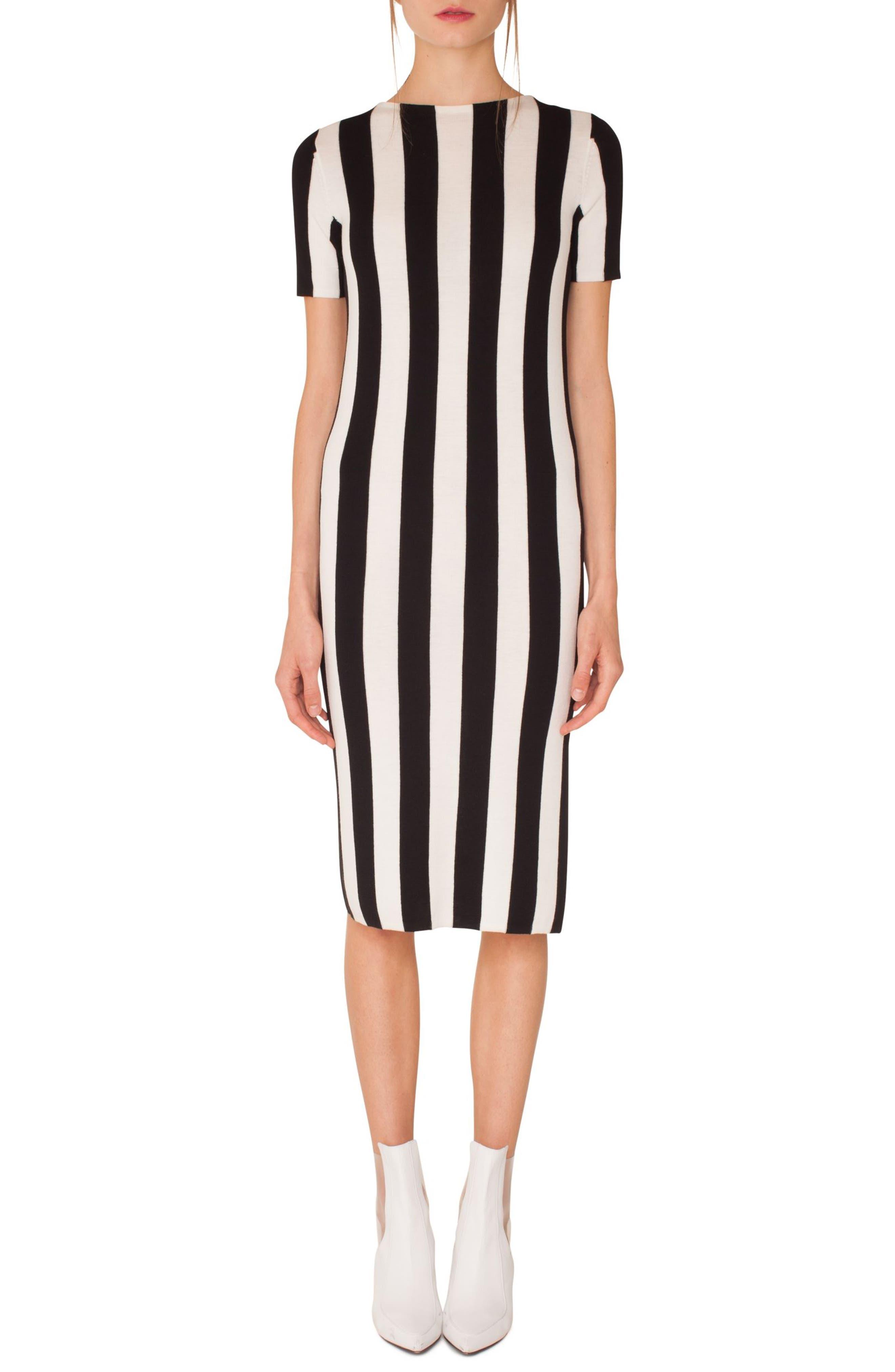 Kodak Stripe Knit Wool Midi Dress,                             Main thumbnail 1, color,                             BLACK-CREAM