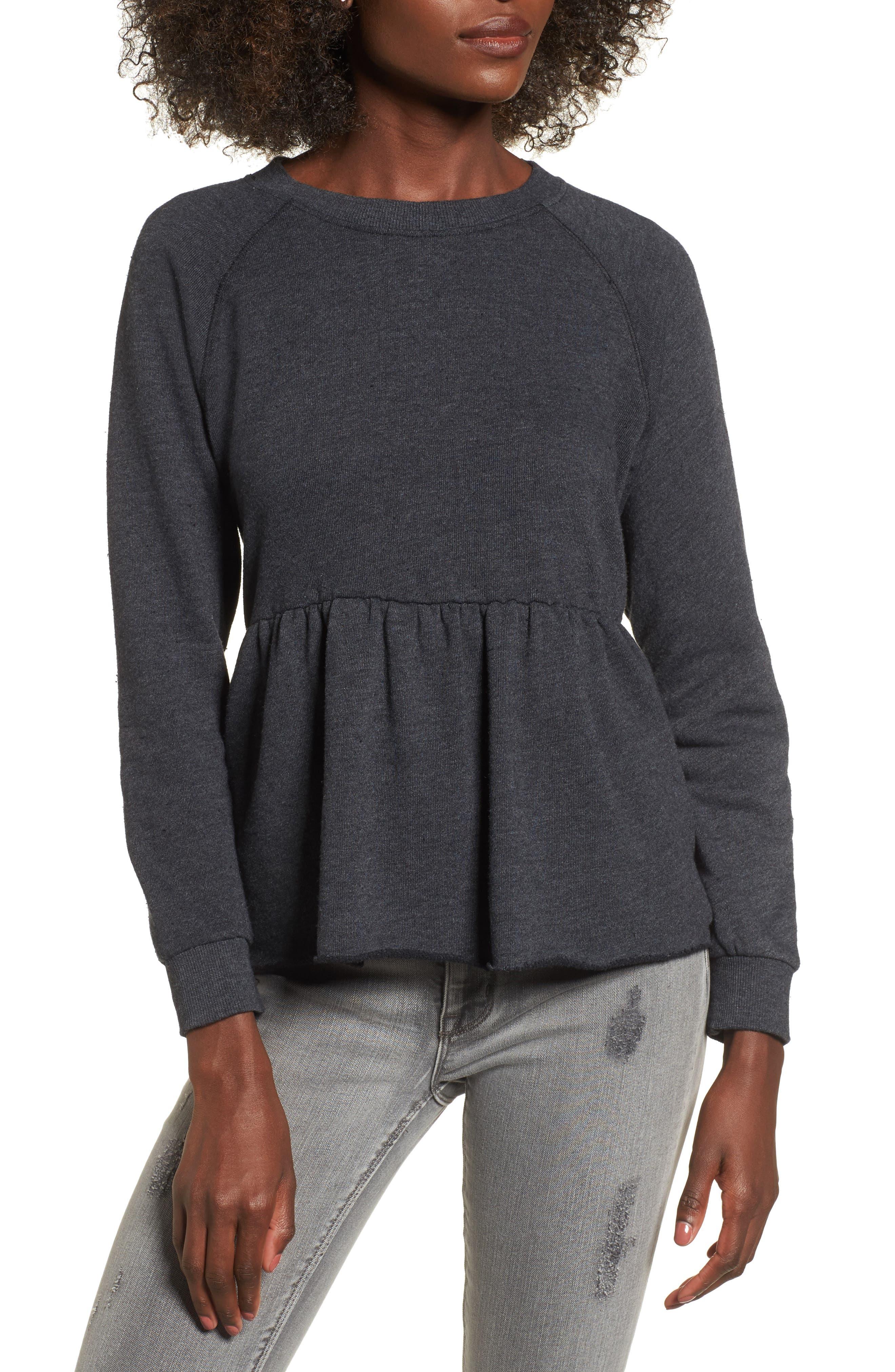 Viera Fleece Peplum Sweatshirt,                             Main thumbnail 1, color,