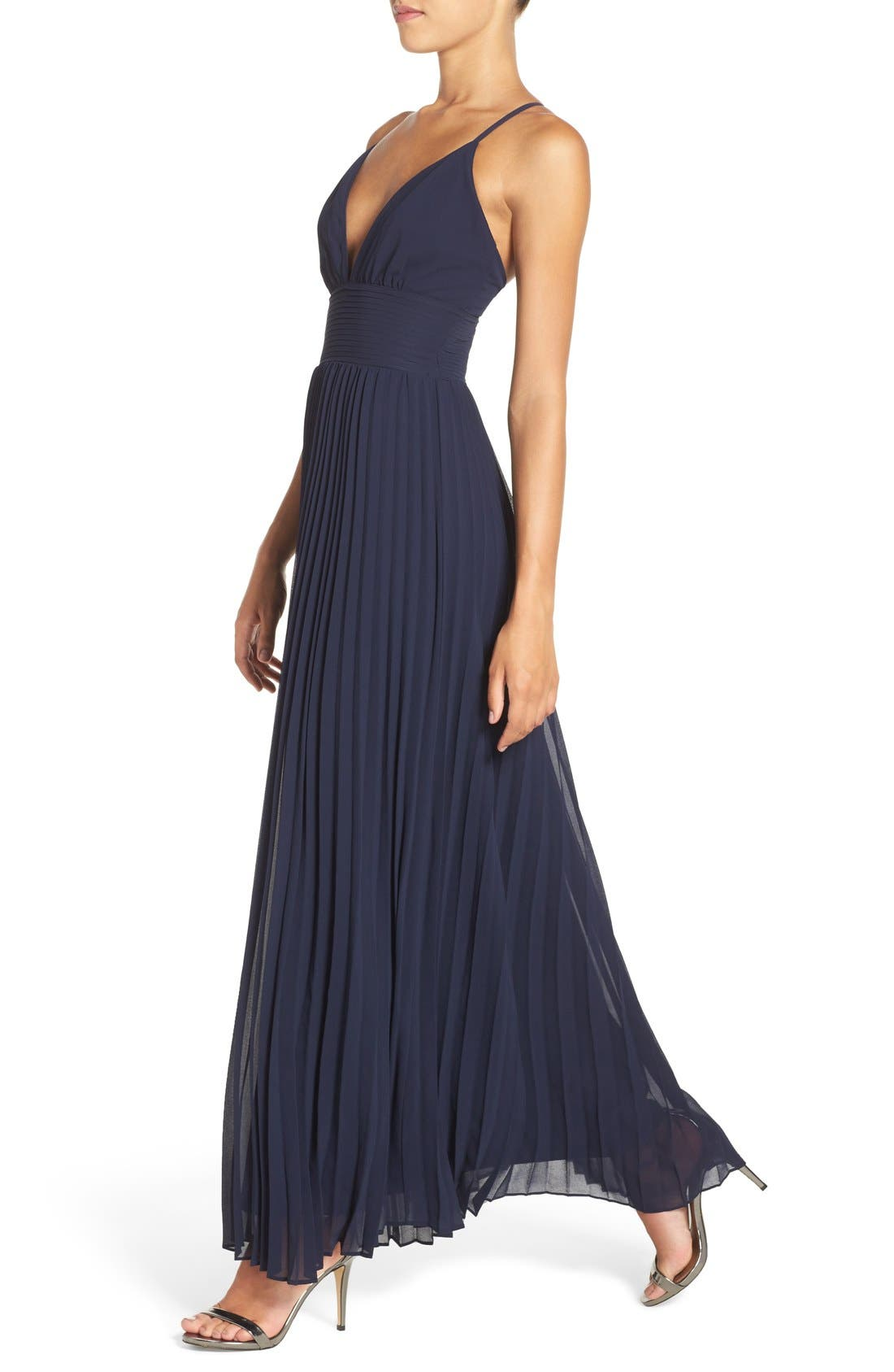 Plunging V-Neck Pleat Georgette Gown,                             Alternate thumbnail 4, color,                             400