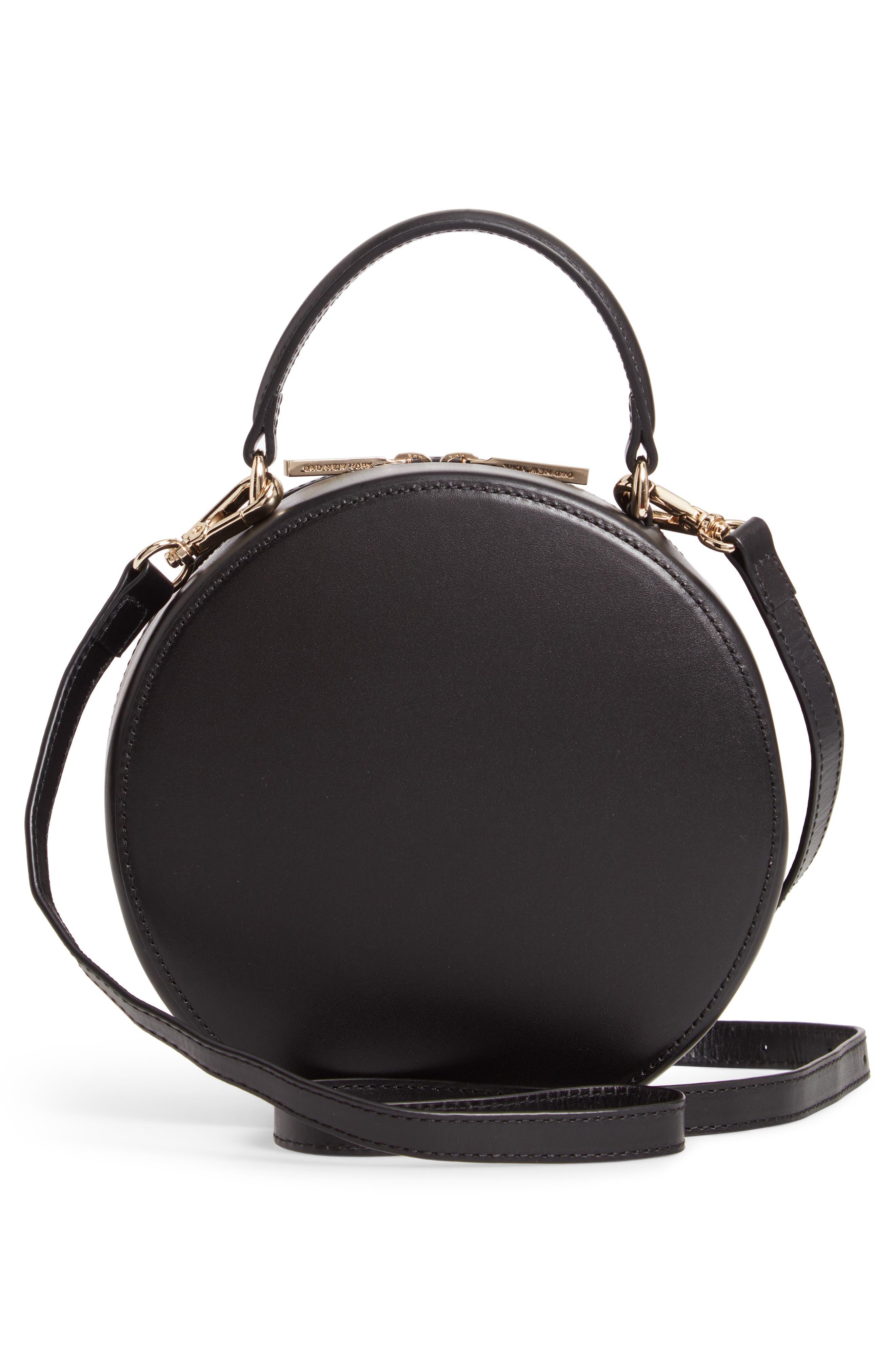 Mini Circle Pebbled Leather Satchel,                             Alternate thumbnail 3, color,                             TRUE BLACK