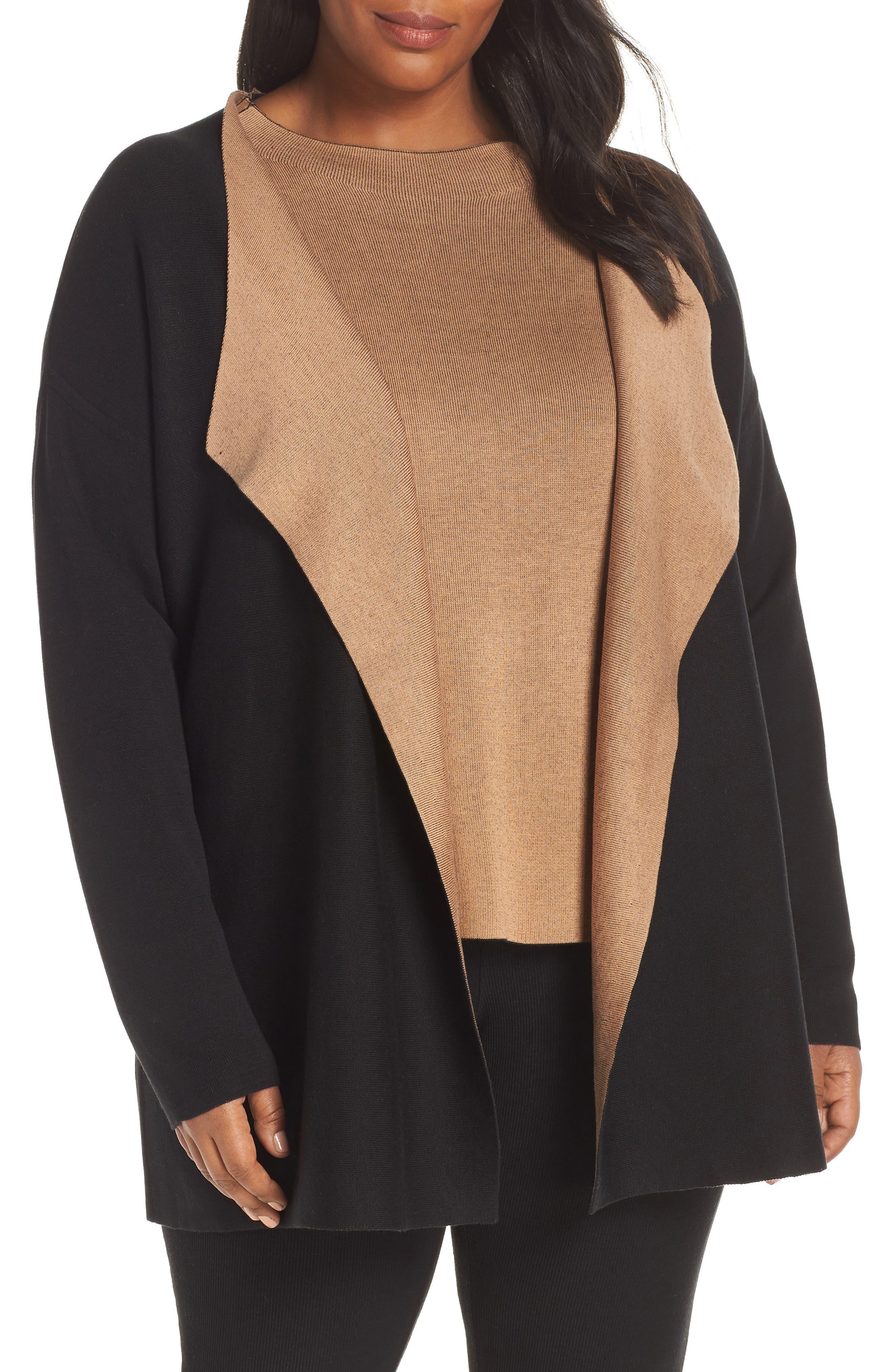 Reversible Silk Blend Cardigan,                             Alternate thumbnail 2, color,                             BLACK/ CLAY