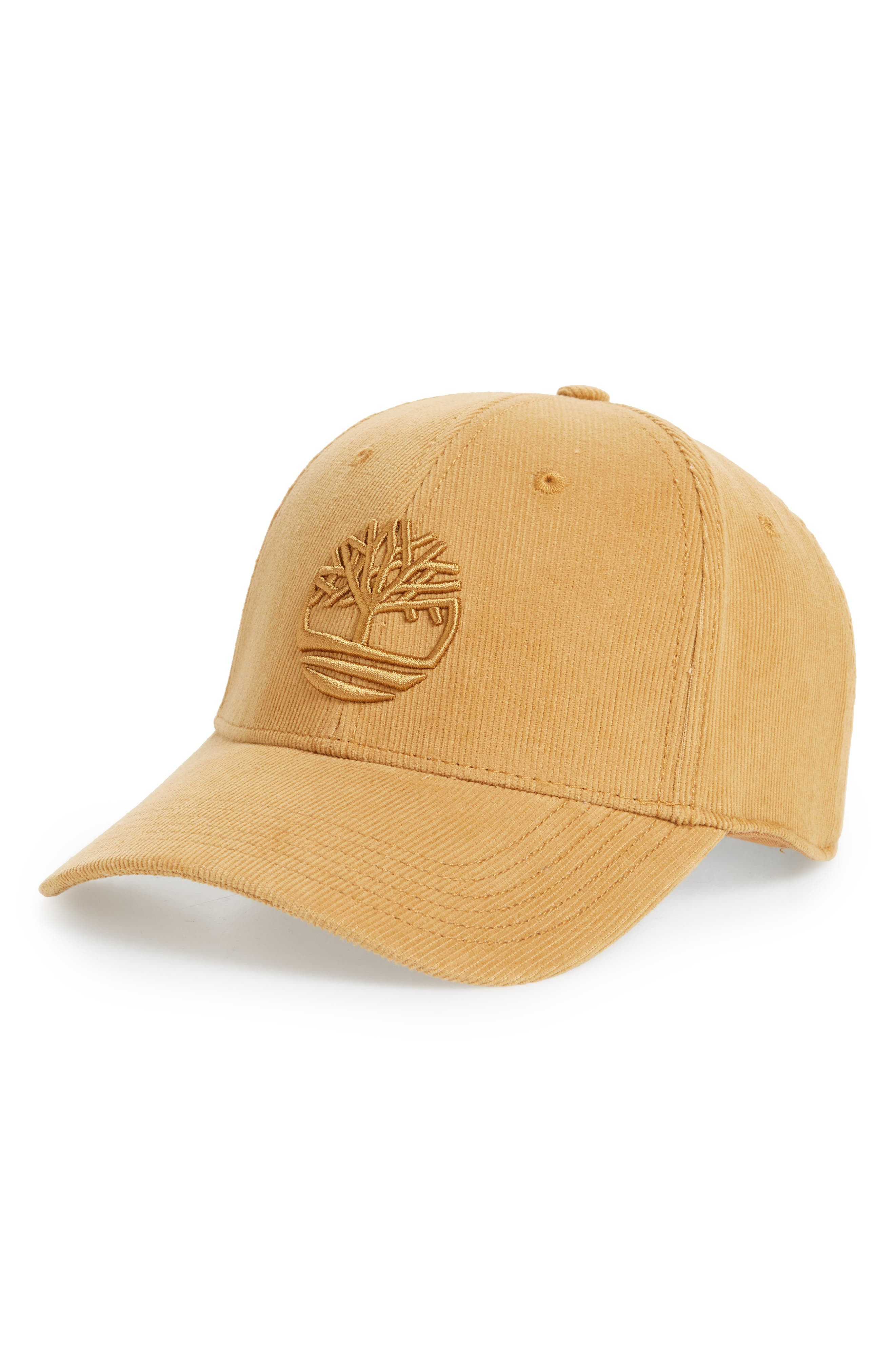TIMBERLAND Logo Embroidered Corduroy Ball Cap, Main, color, WHEAT