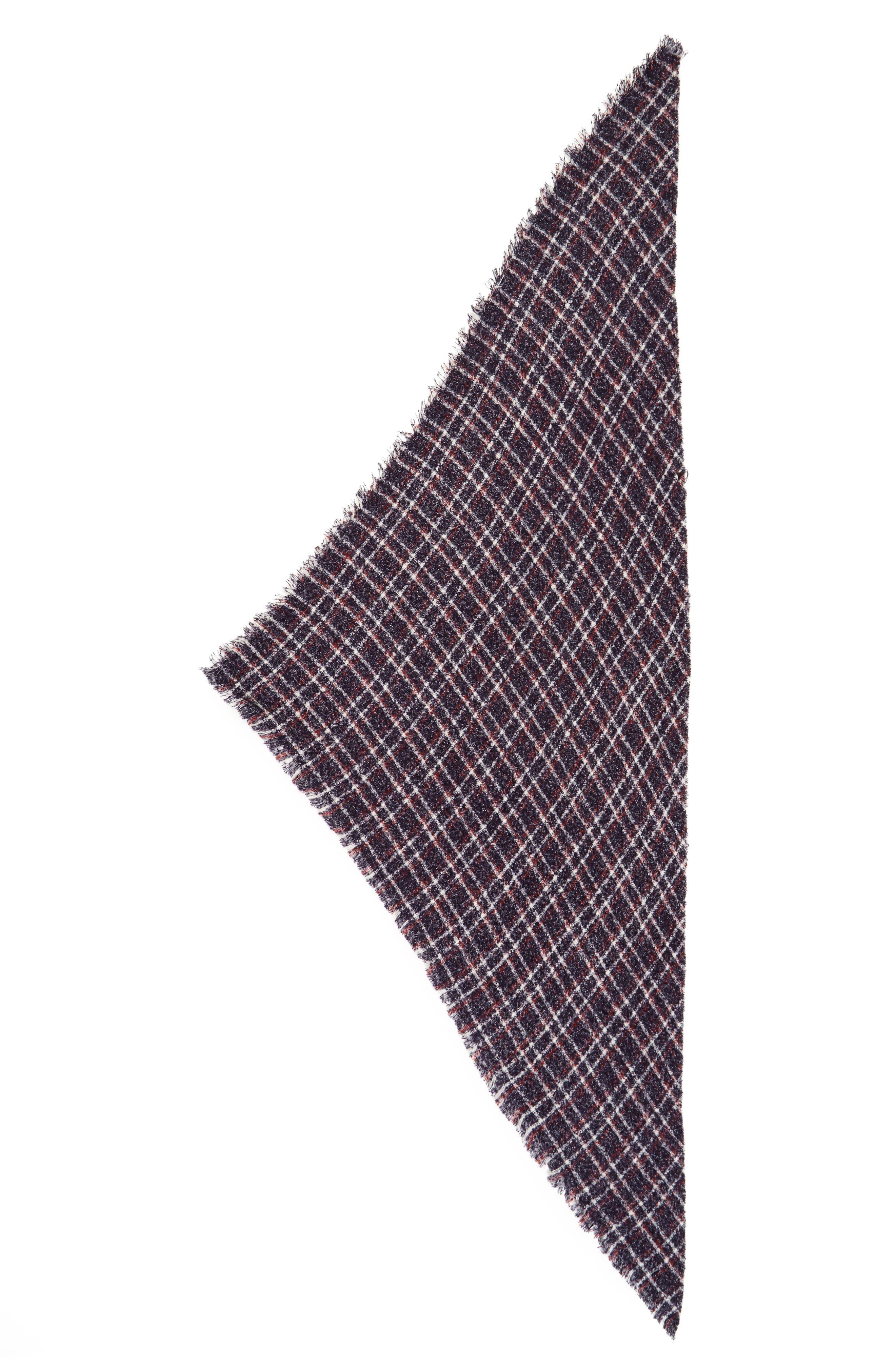 Bouclé Plaid Triangle Scarf,                             Alternate thumbnail 2, color,                             410