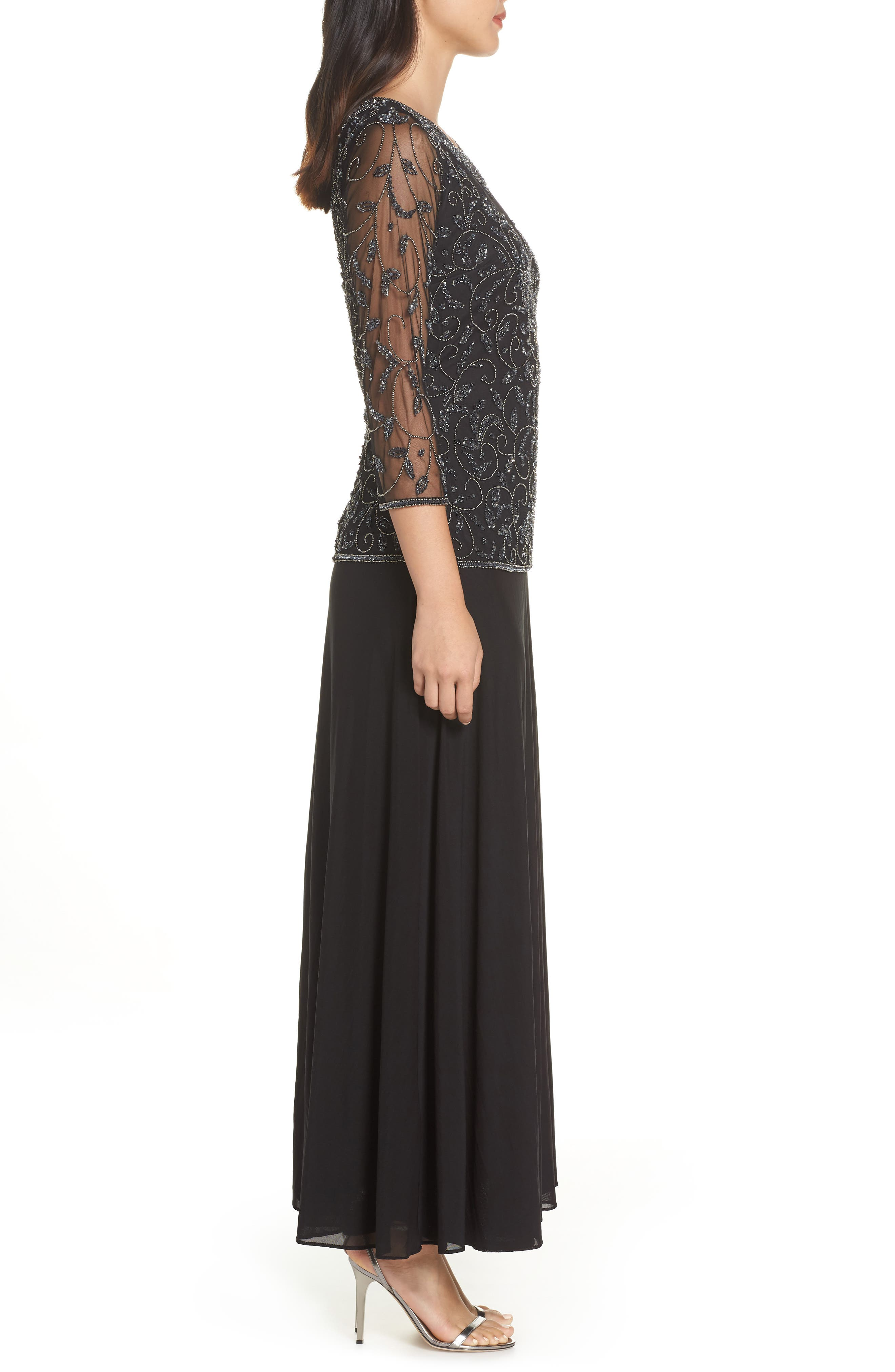 Beaded Mesh Mock Two-Piece Gown,                             Alternate thumbnail 3, color,                             BLACK