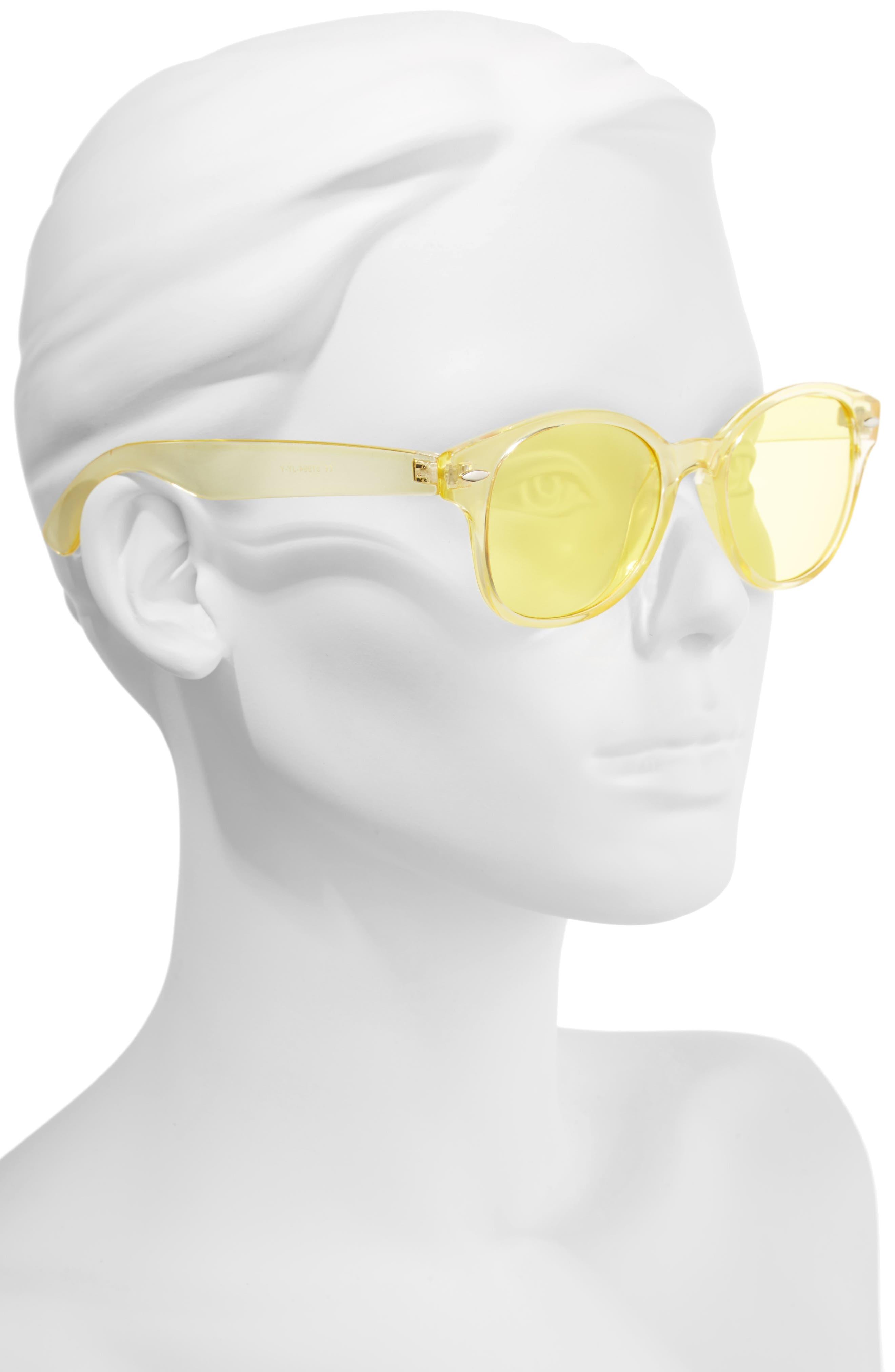 50mm Transparent Round Sunglasses,                             Alternate thumbnail 2, color,
