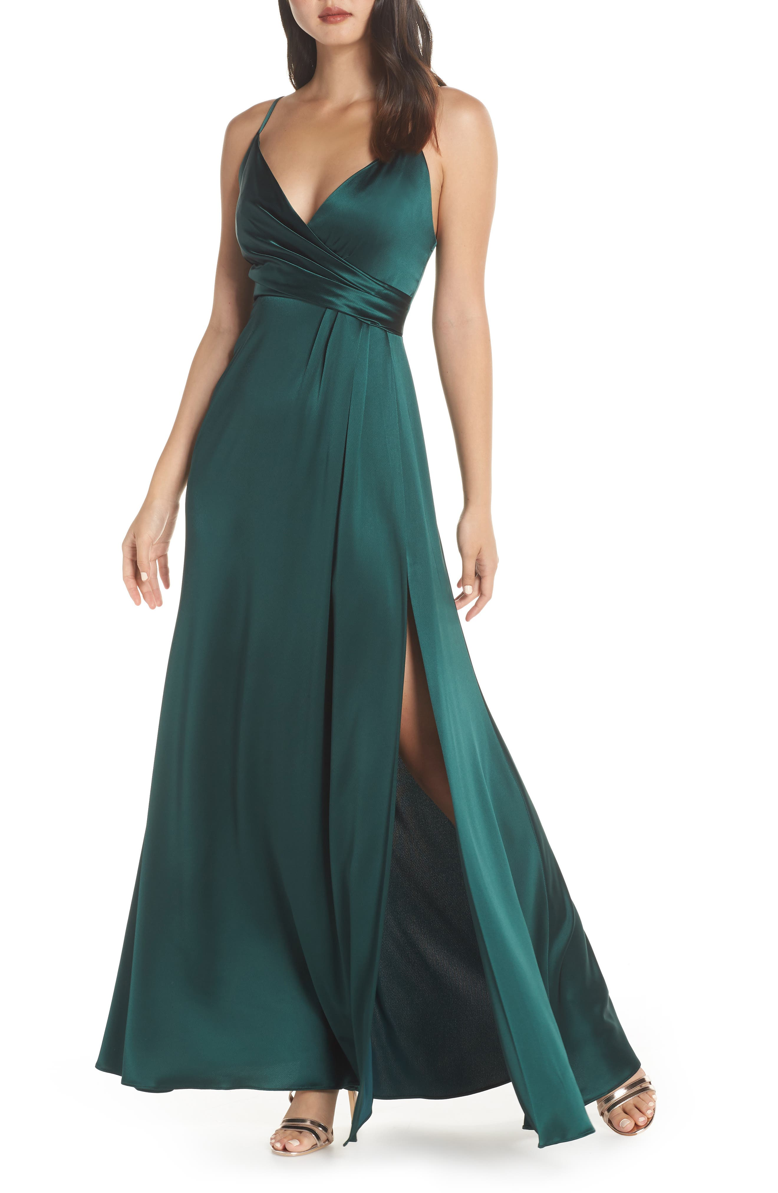 Faux Wrap Satin Gown,                         Main,                         color, SPRUCE