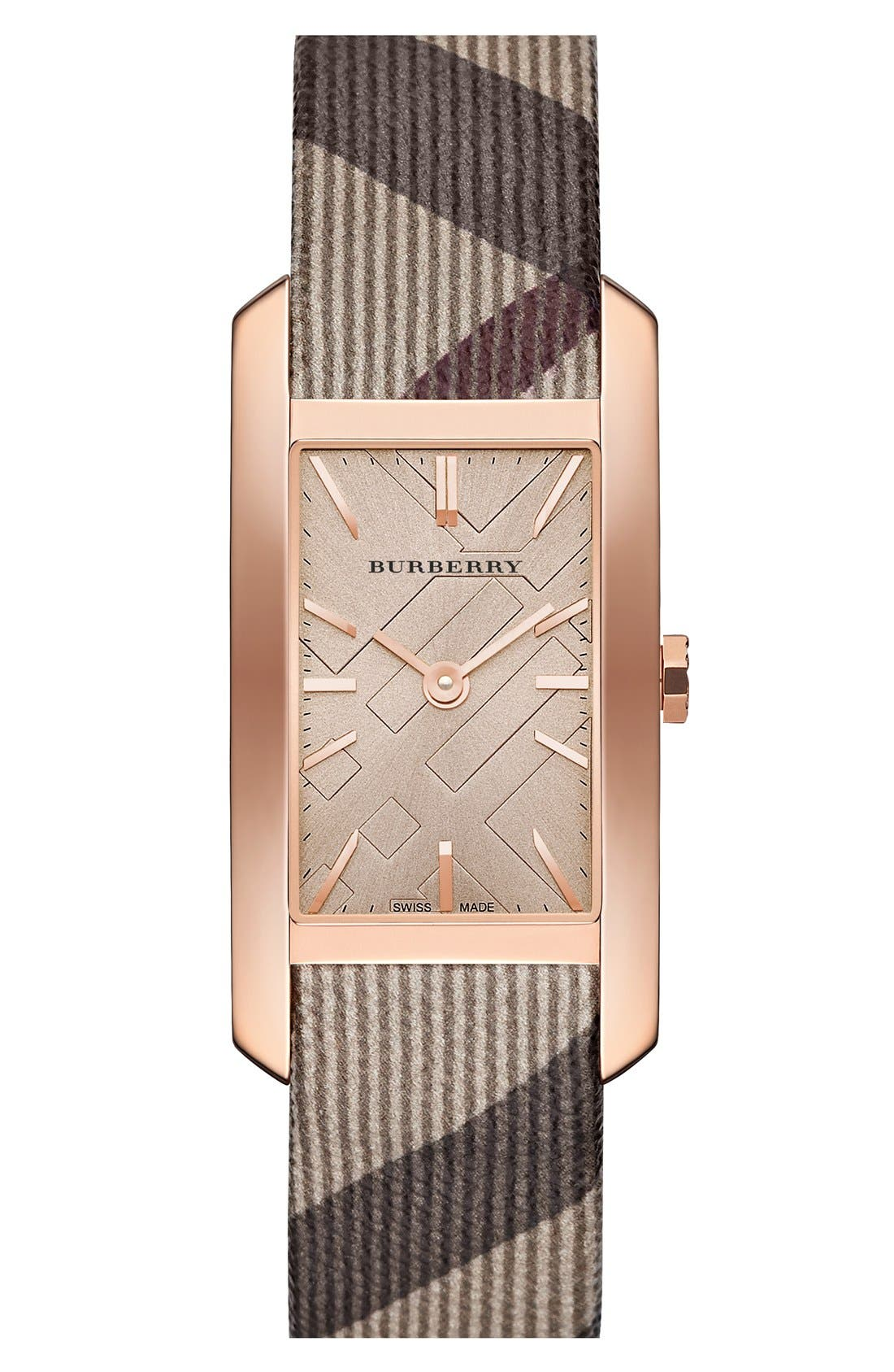 Rectangular Check Strap Watch, 25mm x 33mm,                             Main thumbnail 1, color,                             020