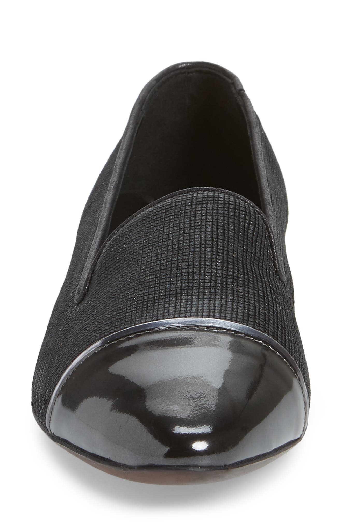 Cap Toe Loafer,                             Alternate thumbnail 4, color,                             BLACK FLAKED LEATHER