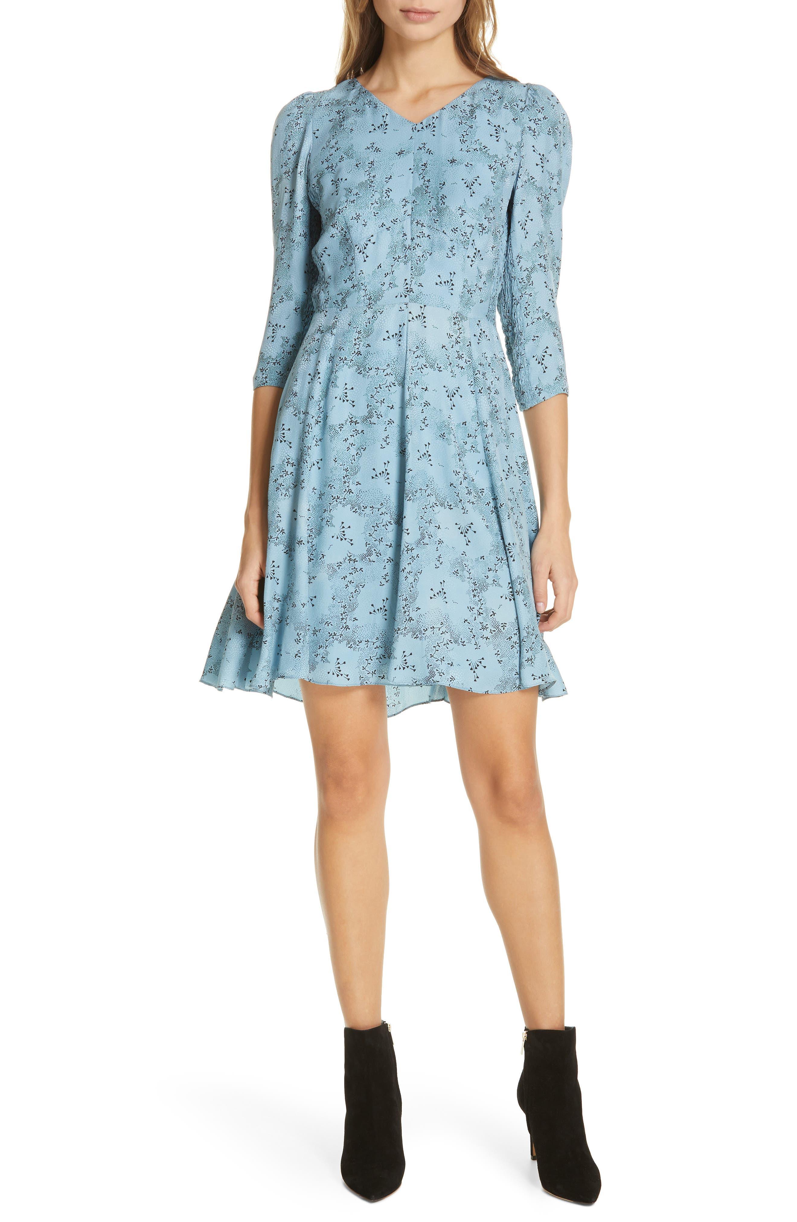 Gianna Floral Silk Dress, Main, color, LAGOON COMBO