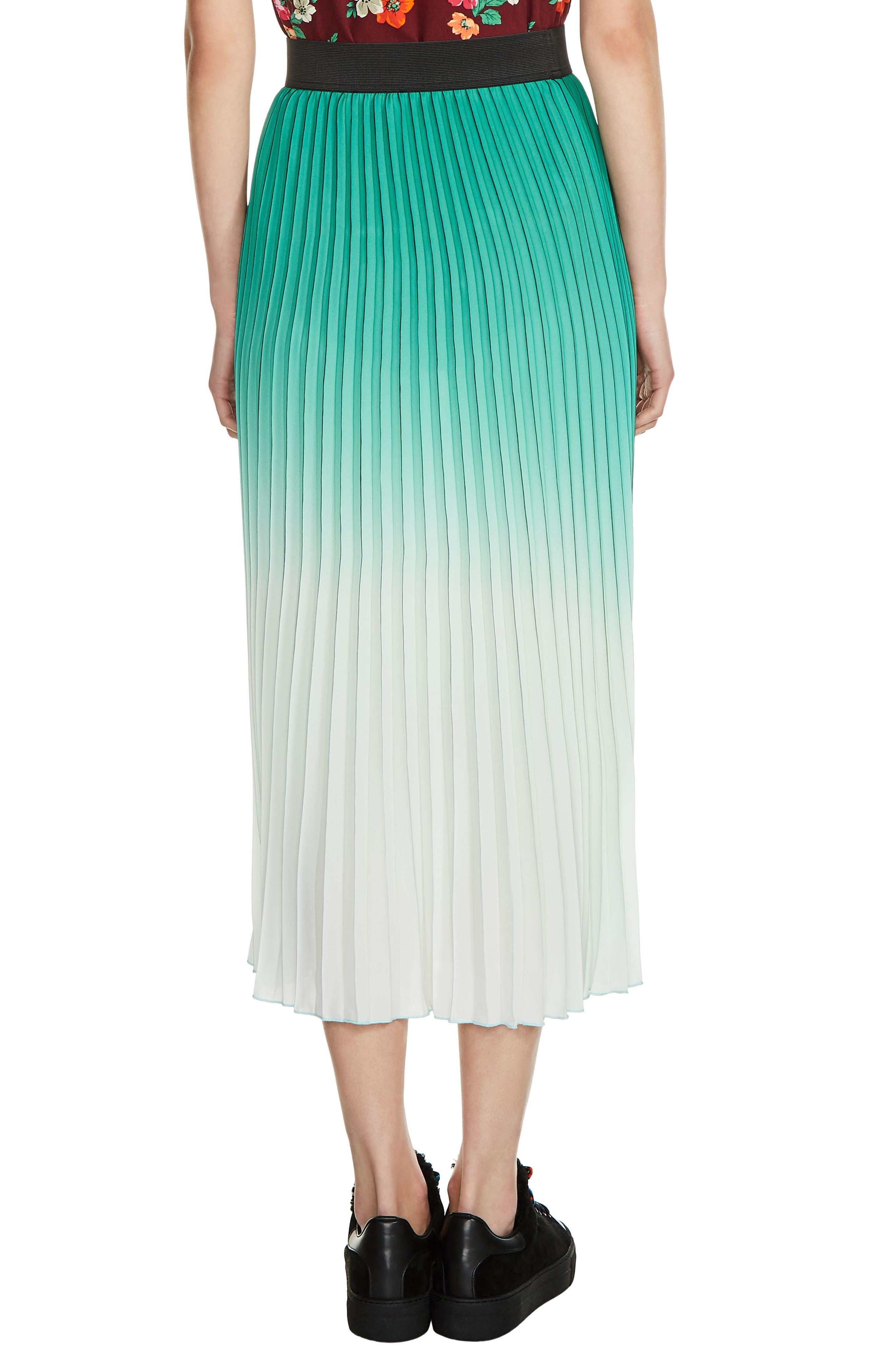 Dip Dye Pleated Midi Skirt,                             Alternate thumbnail 2, color,                             300