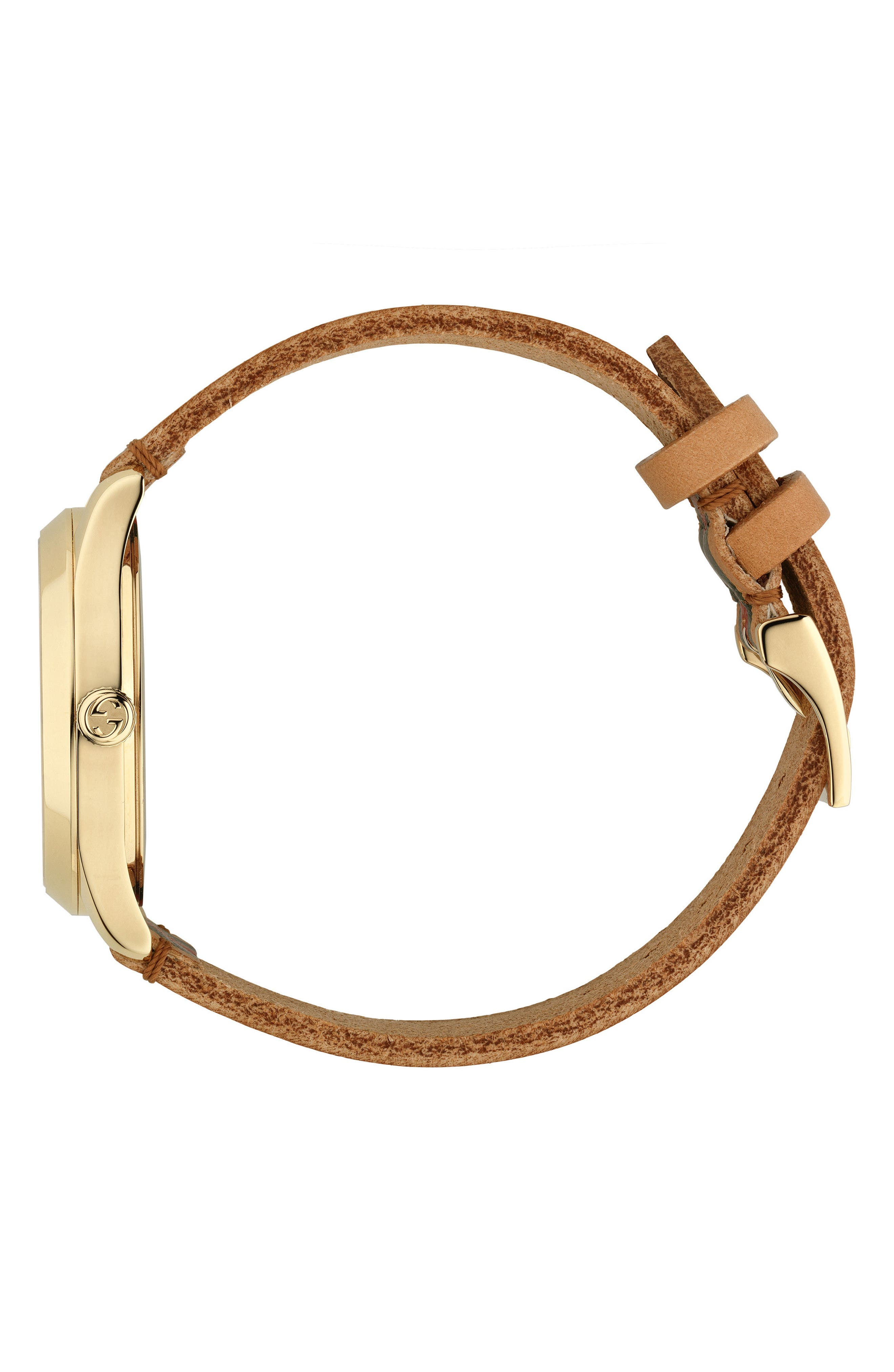 G-Timeless Leather Strap Watch, 38mm,                             Alternate thumbnail 3, color,                             BROWN/ GREEN/ GOLD