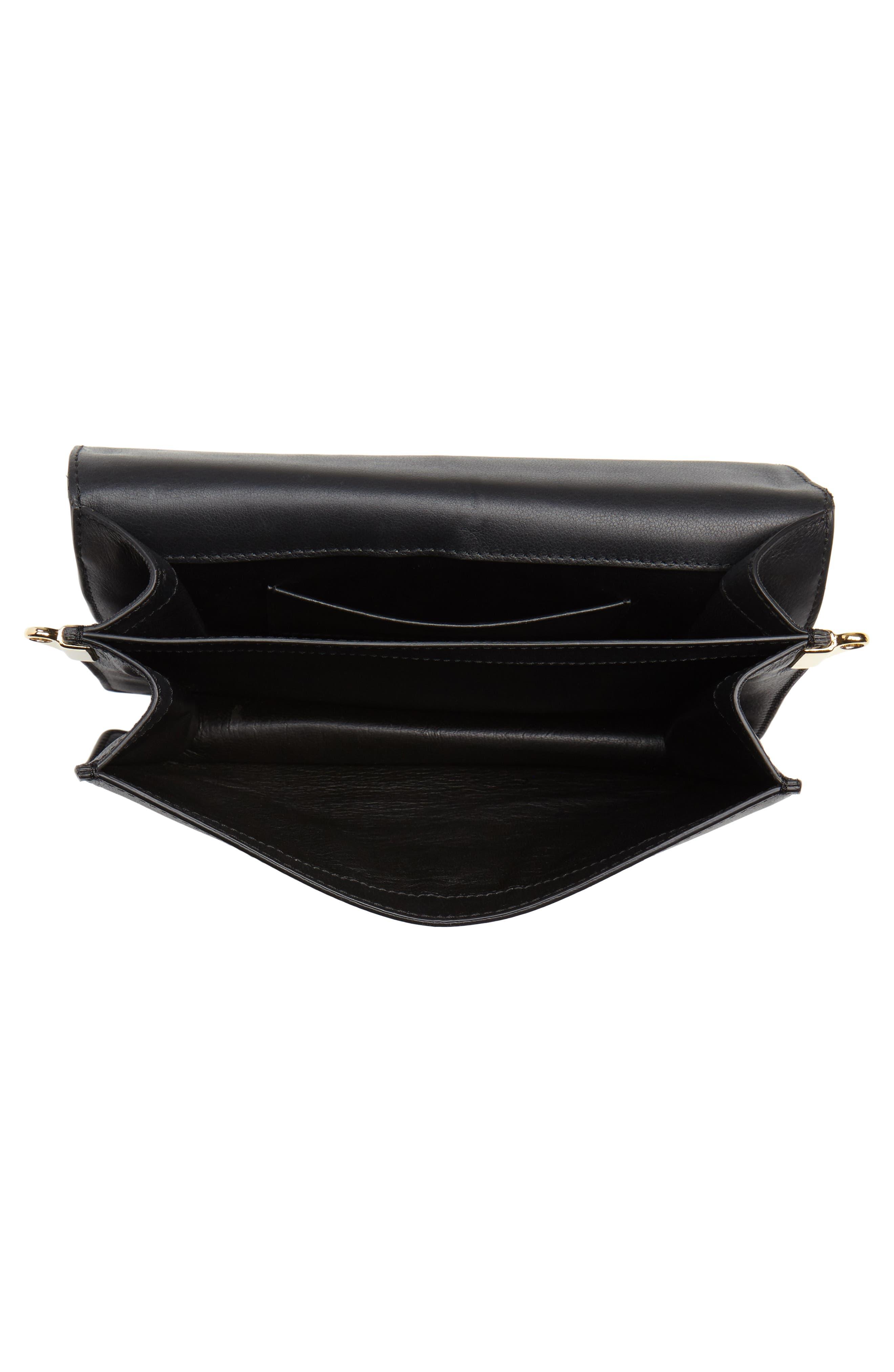 Logo Leather Shoulder Bag,                             Alternate thumbnail 5, color,                             001