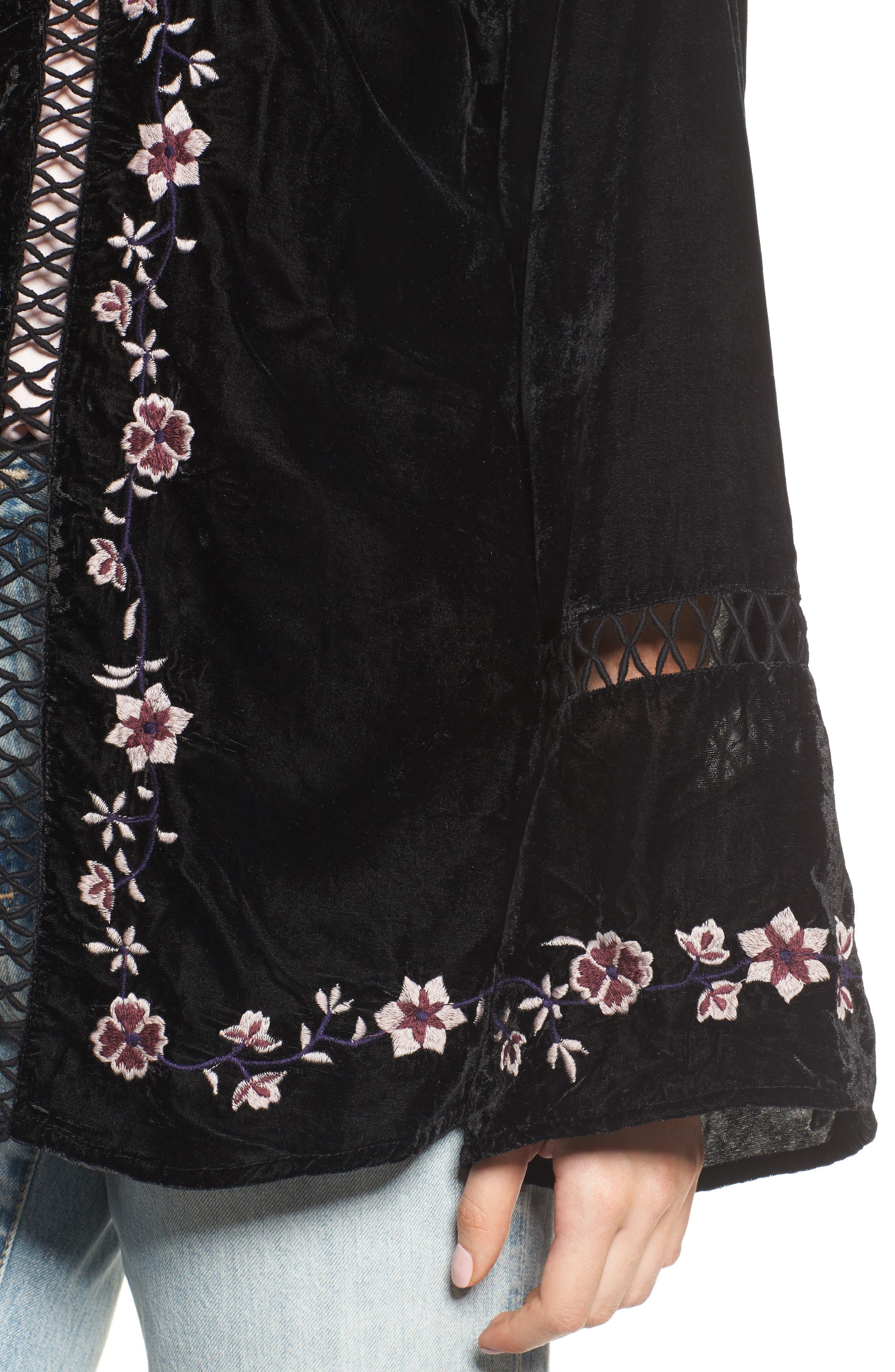 Embroidered Velvet Jacket,                             Alternate thumbnail 4, color,