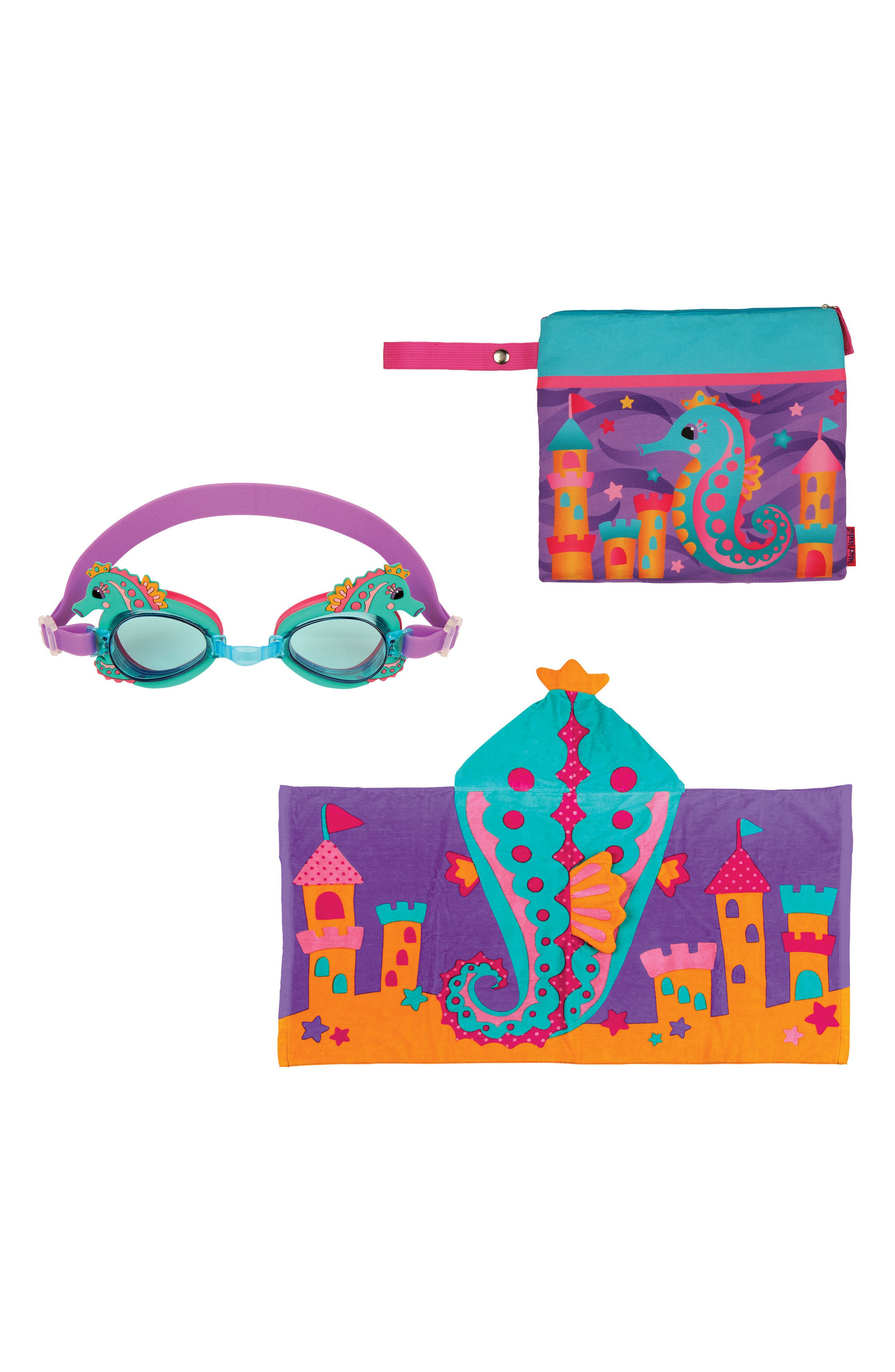 Bag, Hooded Towel & Goggles,                         Main,                         color, PURPLE SEAHORSE