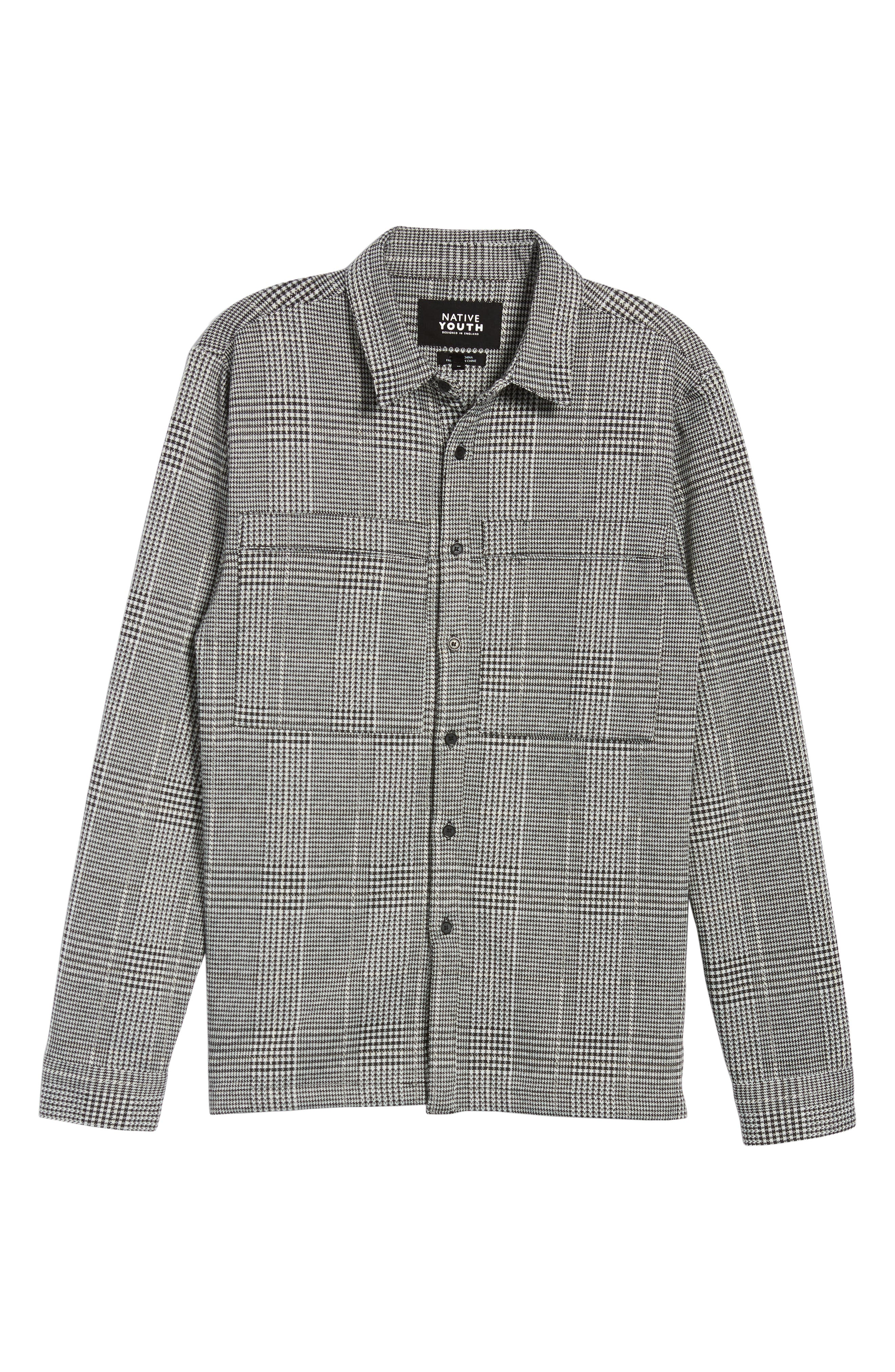 Houndstooth Check Overshirt,                             Alternate thumbnail 6, color,                             BLACK