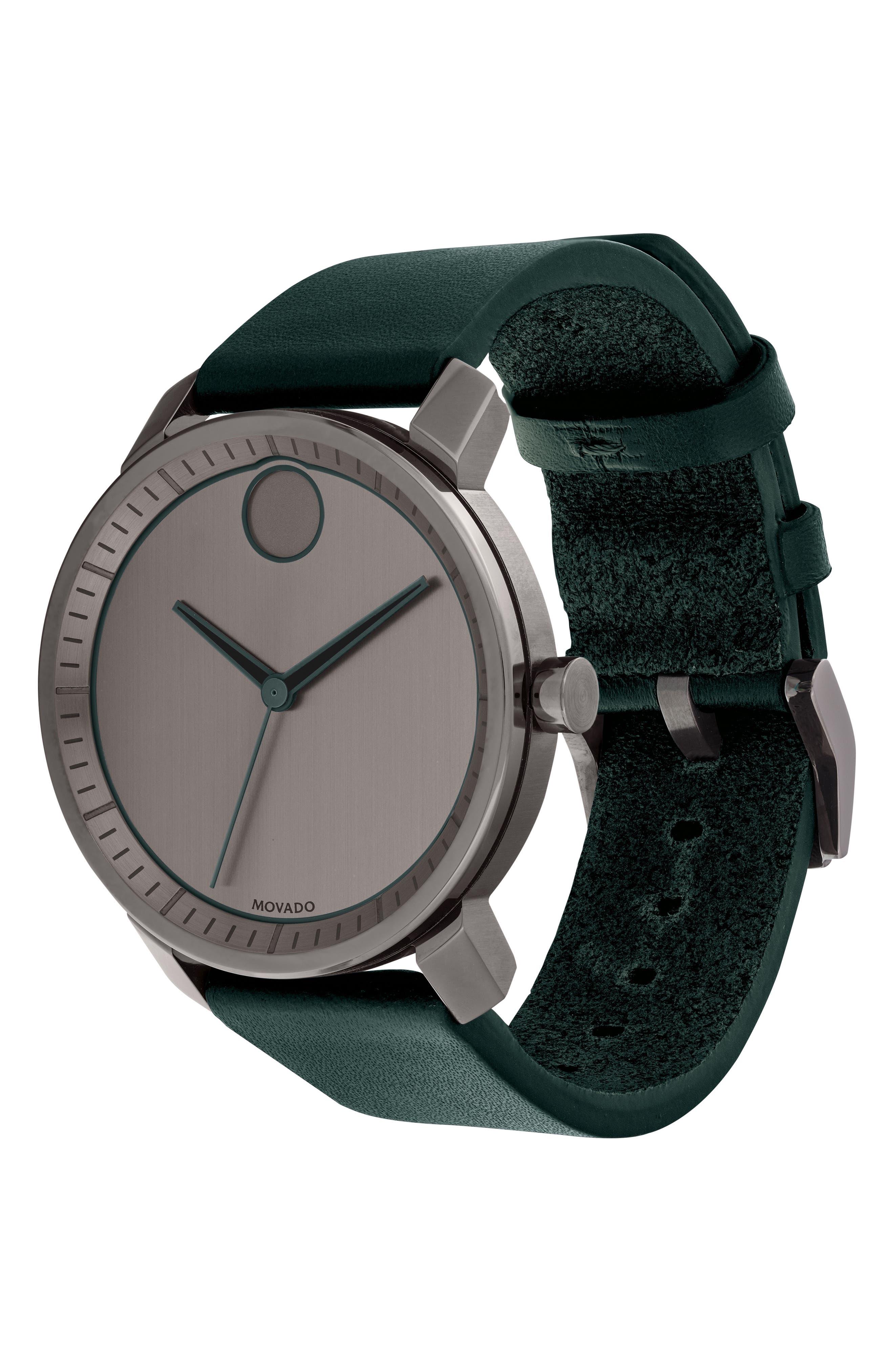 MOVADO,                             Bold Leather Strap Watch, 41mm,                             Alternate thumbnail 3, color,                             GREEN/ GUNMETAL