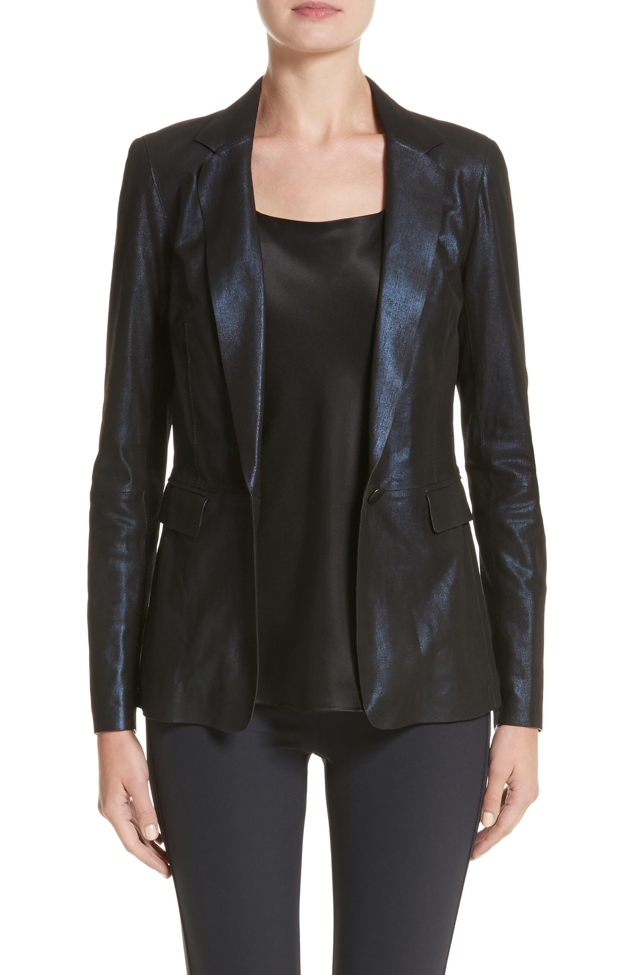 Lyndon Metallic Leather Blazer,                         Main,                         color, 479