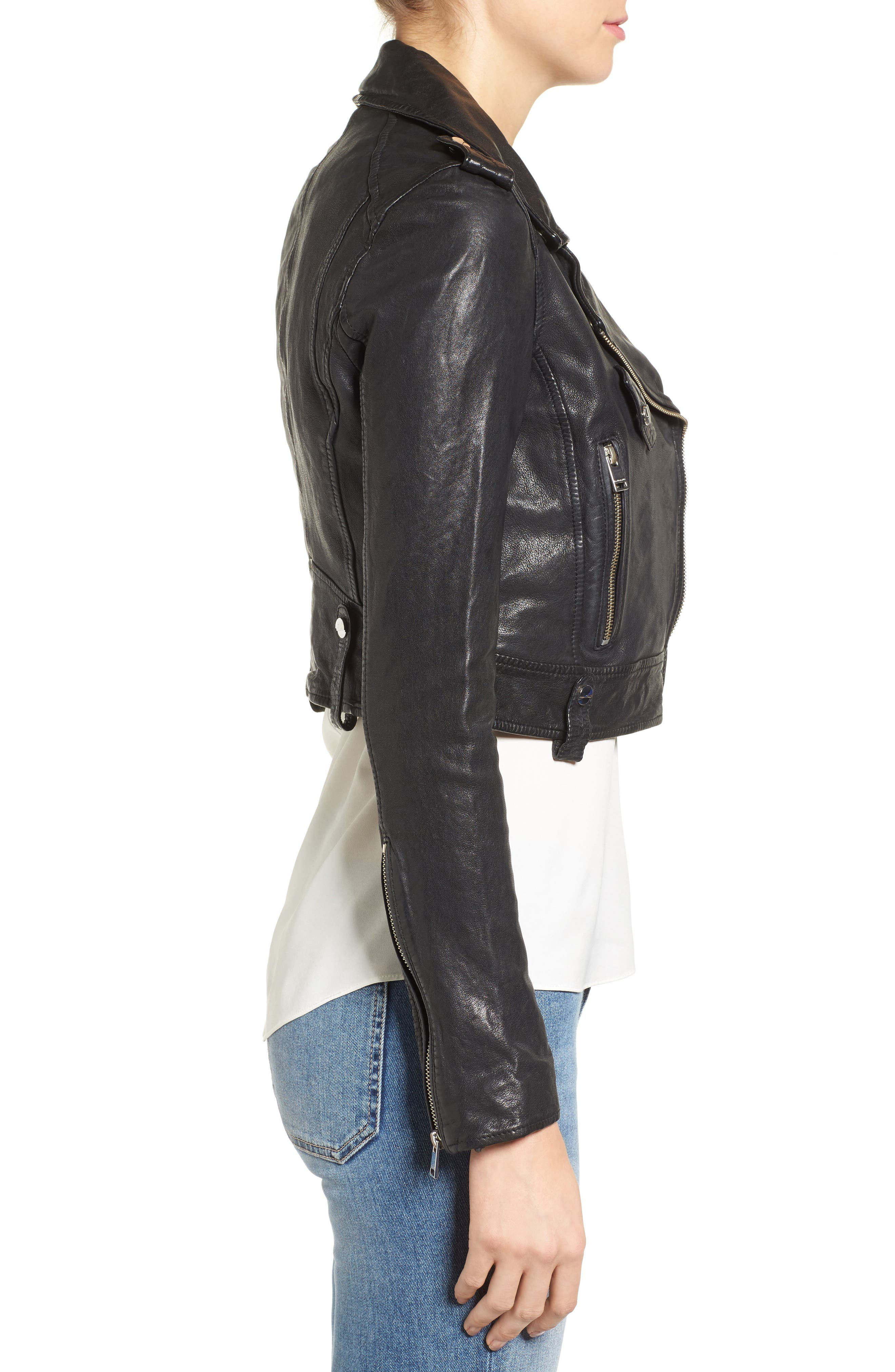 Washed Leather Crop Moto Jacket,                             Alternate thumbnail 3, color,                             001