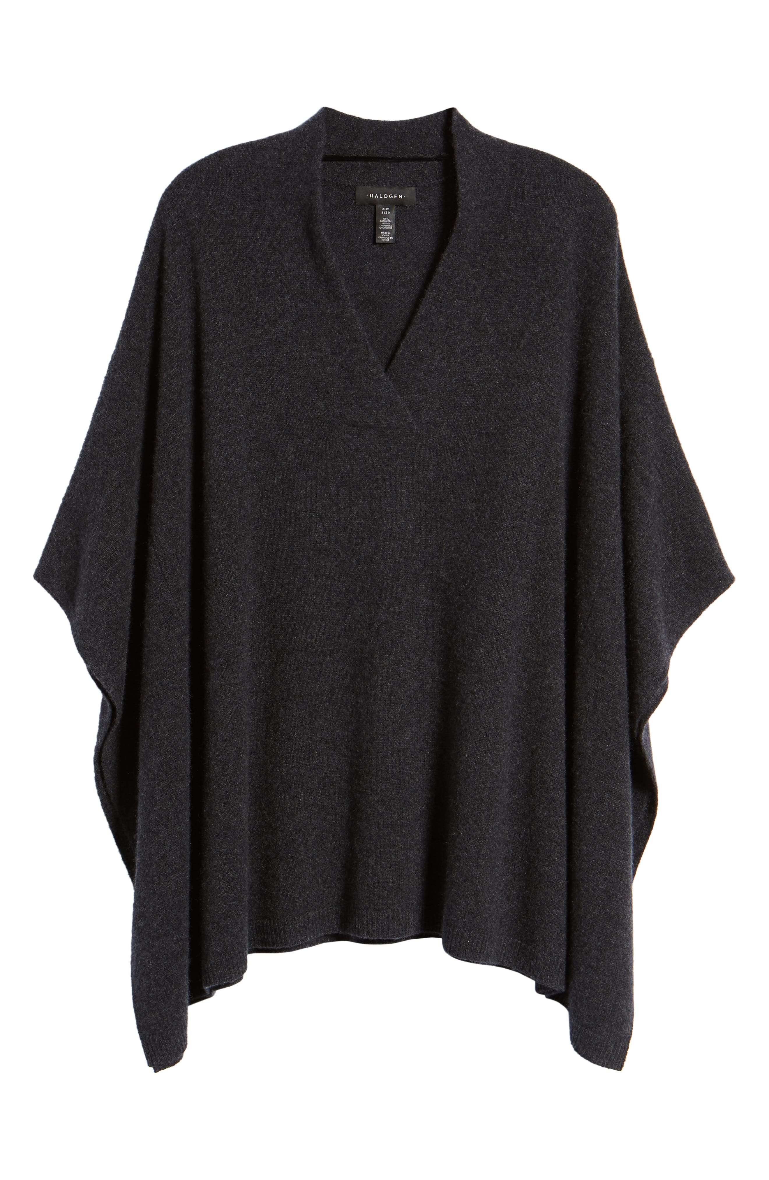 Halogen Cashmere Poncho,                             Alternate thumbnail 6, color,                             GREY CHARCOAL HEATHER