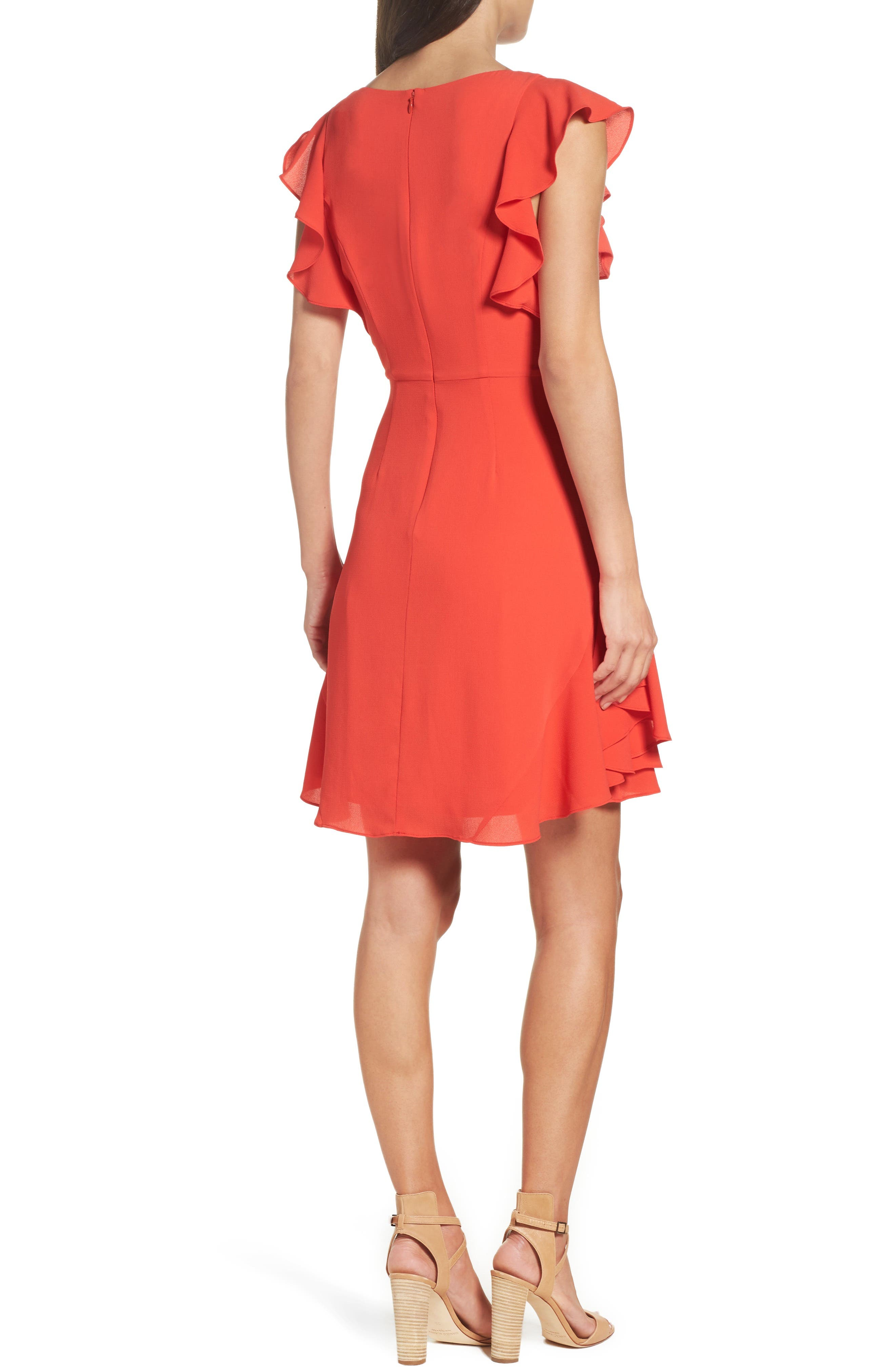 Ruffle Fit & Flare Dress,                             Alternate thumbnail 2, color,                             606