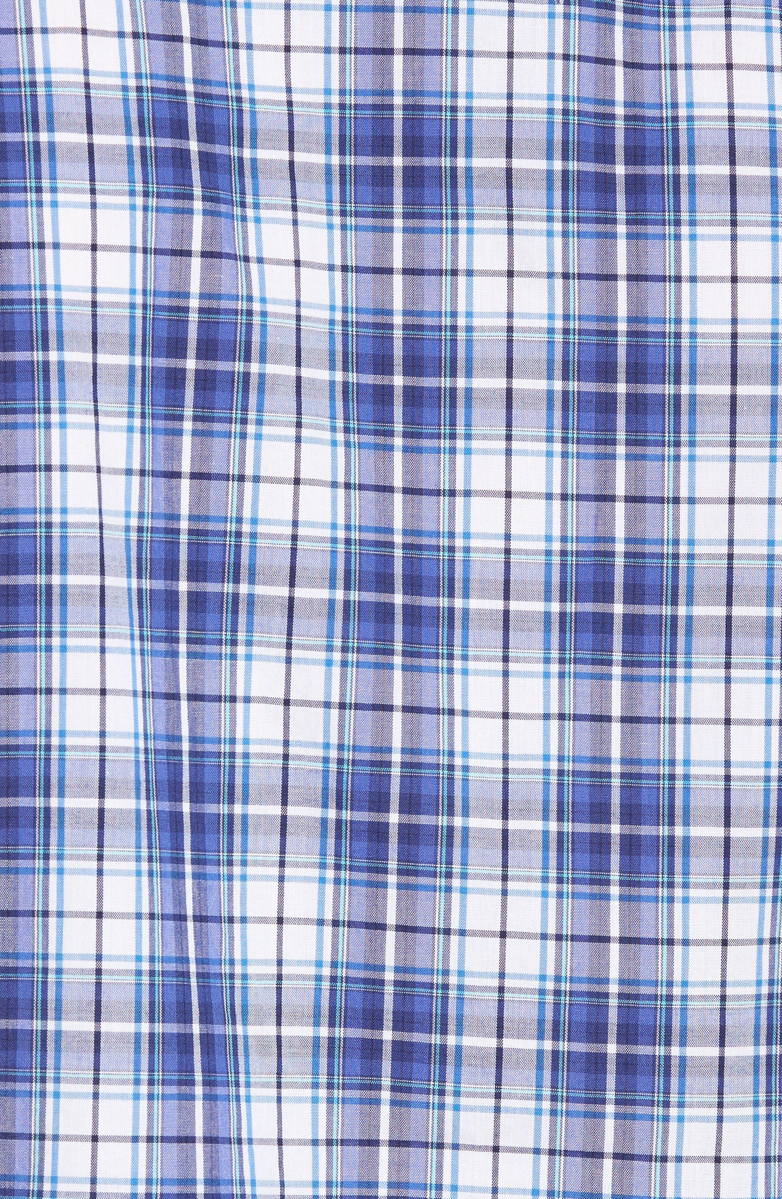 Leo Trim Fit Plaid Sport Shirt,                             Alternate thumbnail 5, color,                             420