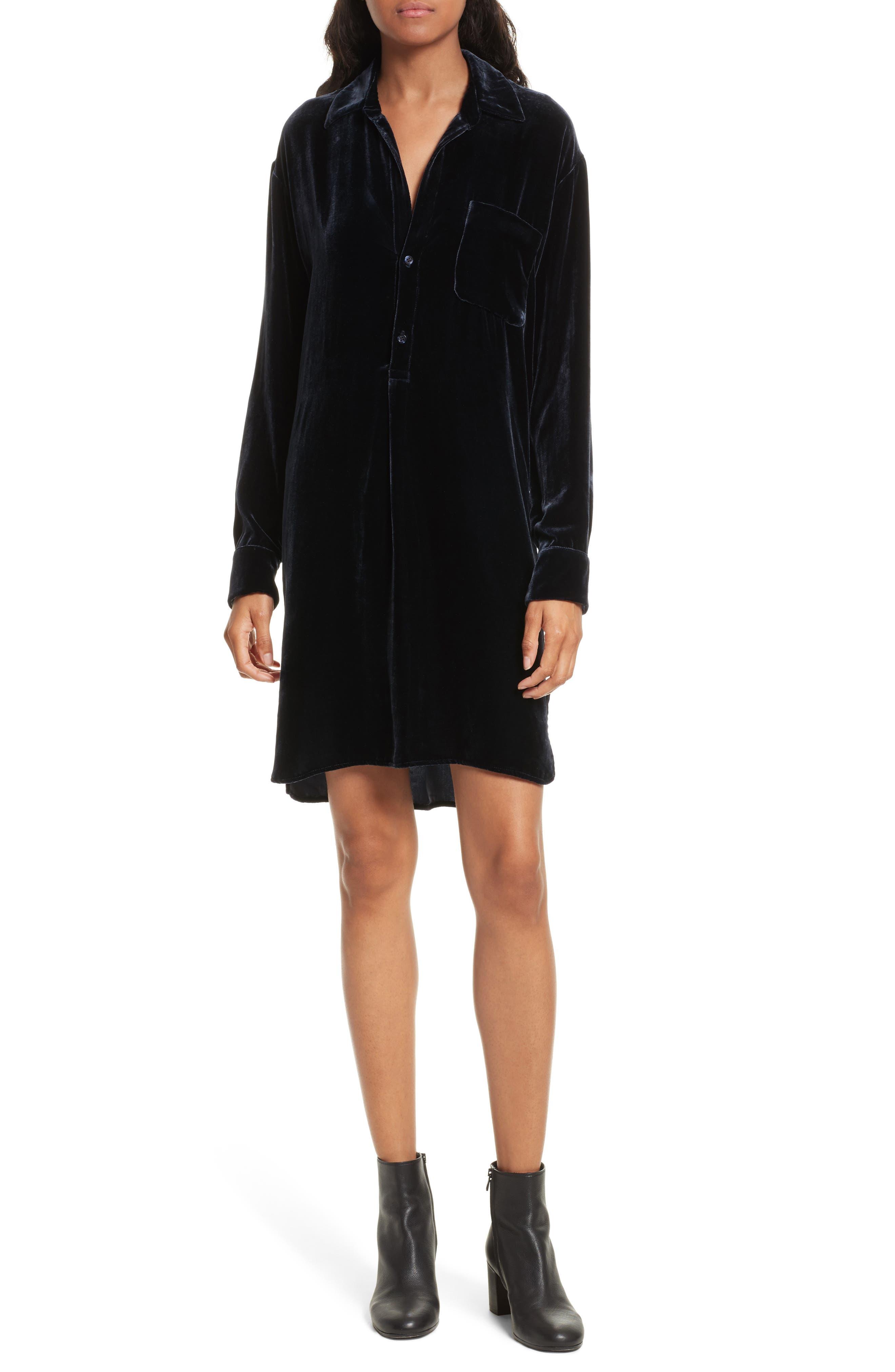 Velvet Shirtdress,                         Main,                         color, 403