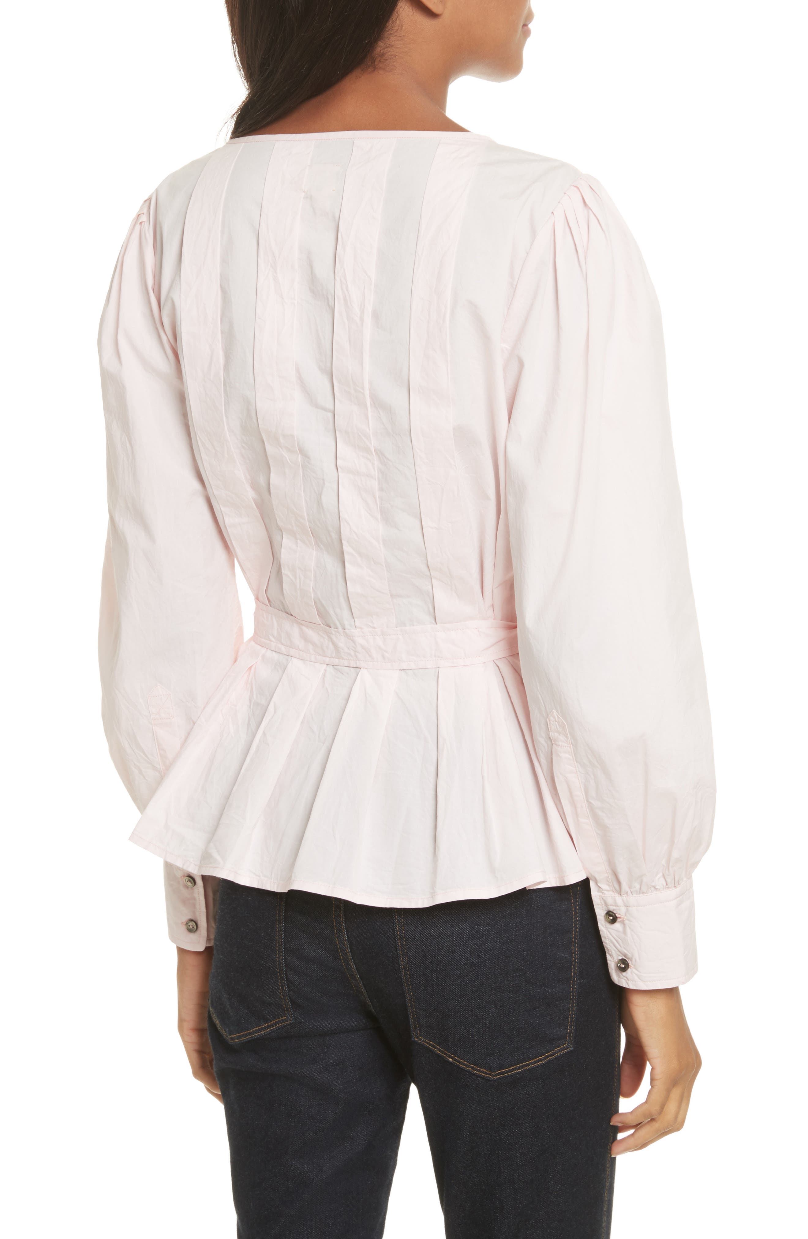 Belted Poplin Top,                             Alternate thumbnail 2, color,                             688