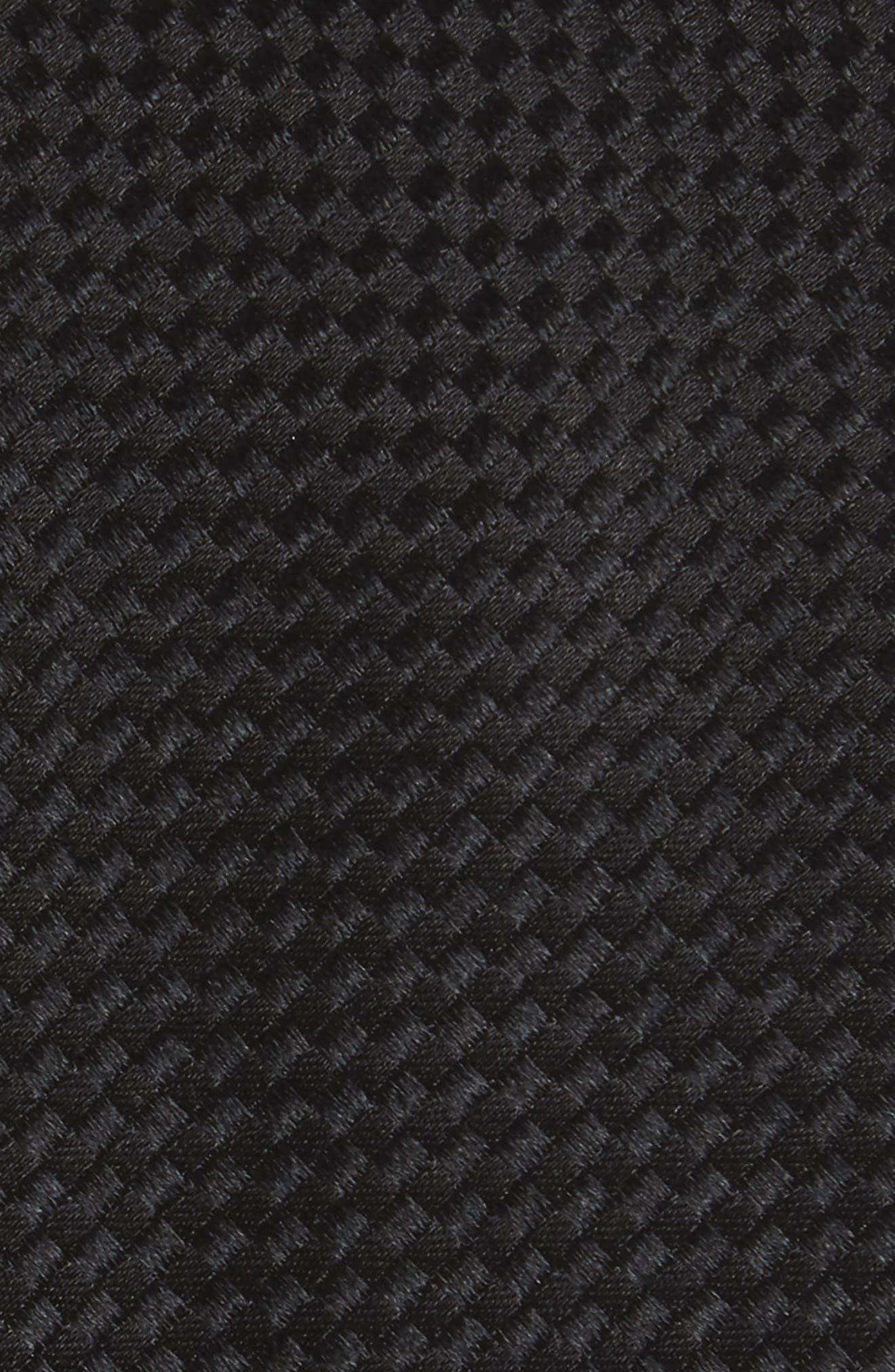 Check Silk Tie,                             Alternate thumbnail 2, color,                             BLACK